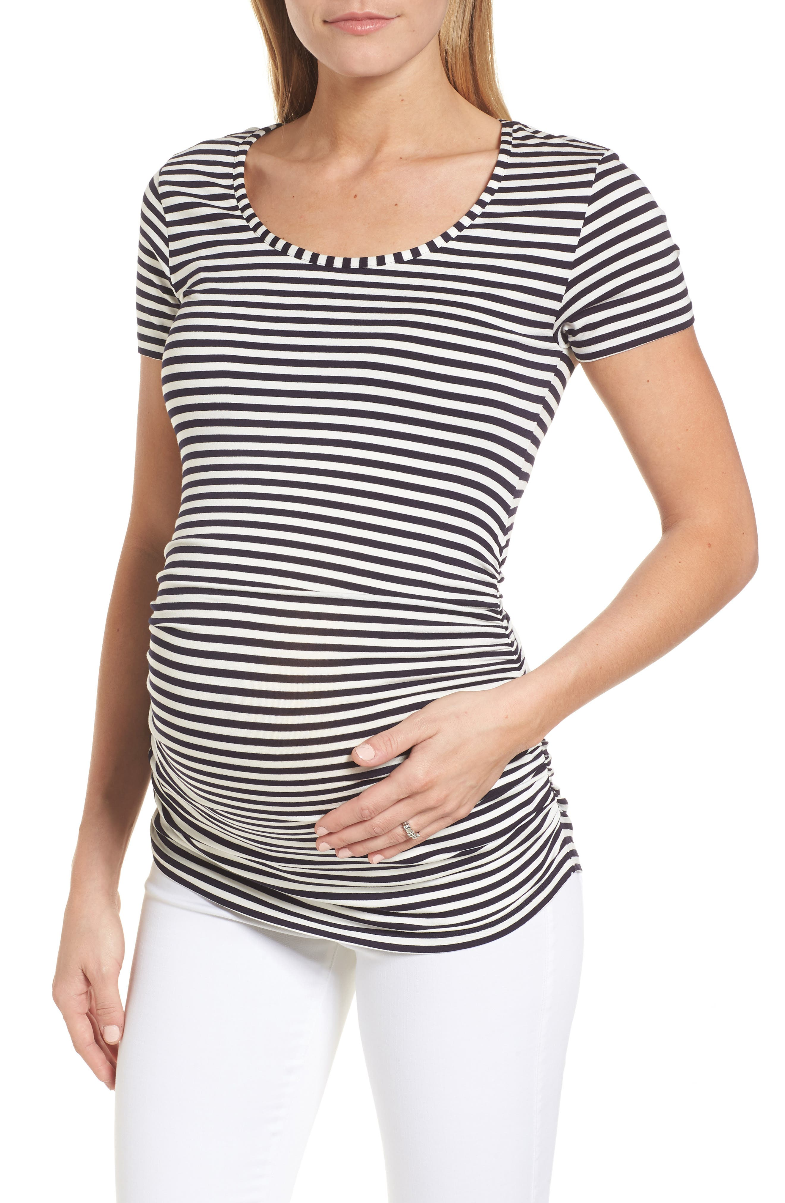 Jenna Maternity Top,                         Main,                         color, Navy/Off White