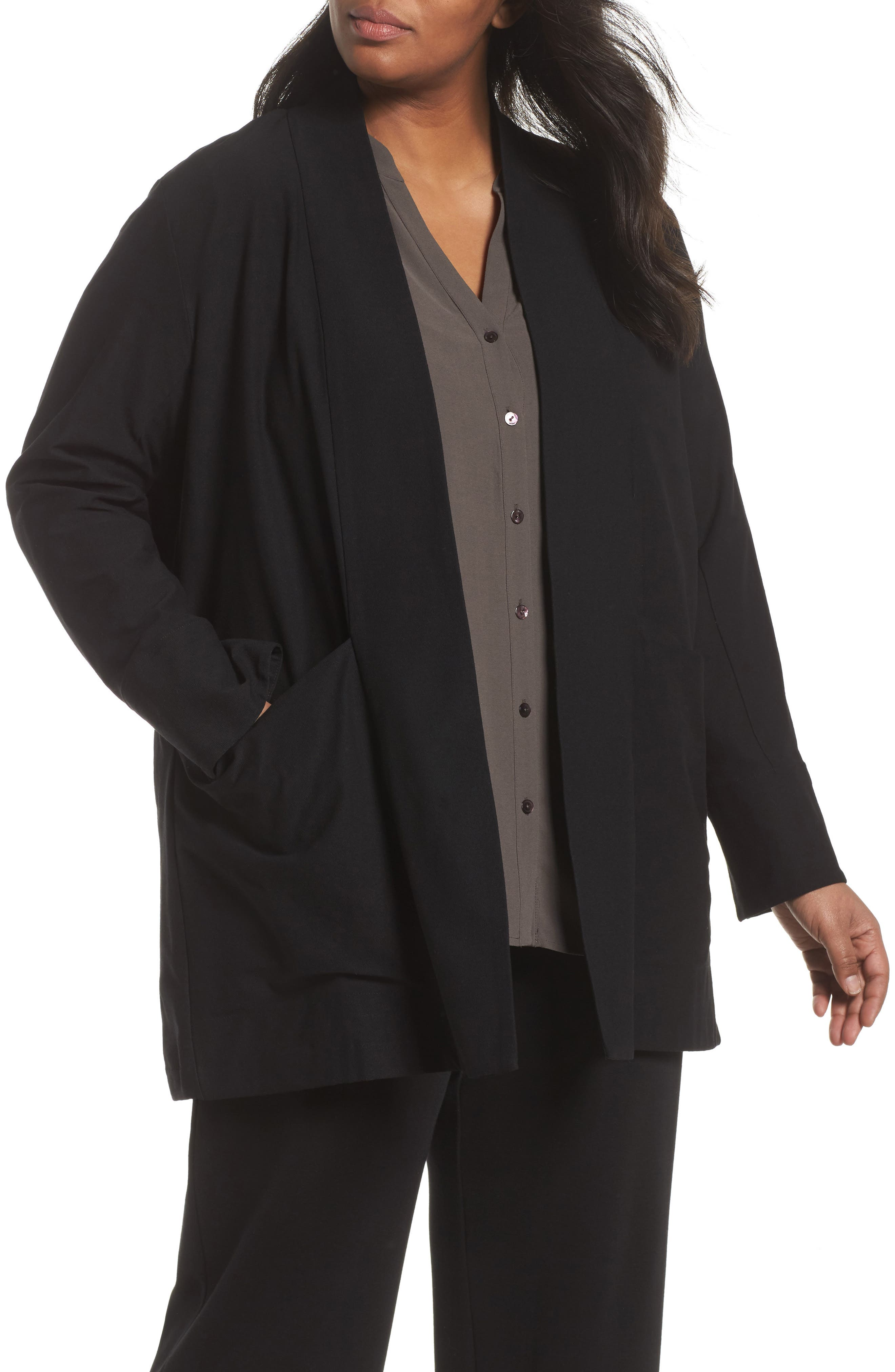 Eileen Fisher Kimono Long Jacket (Plus Size)