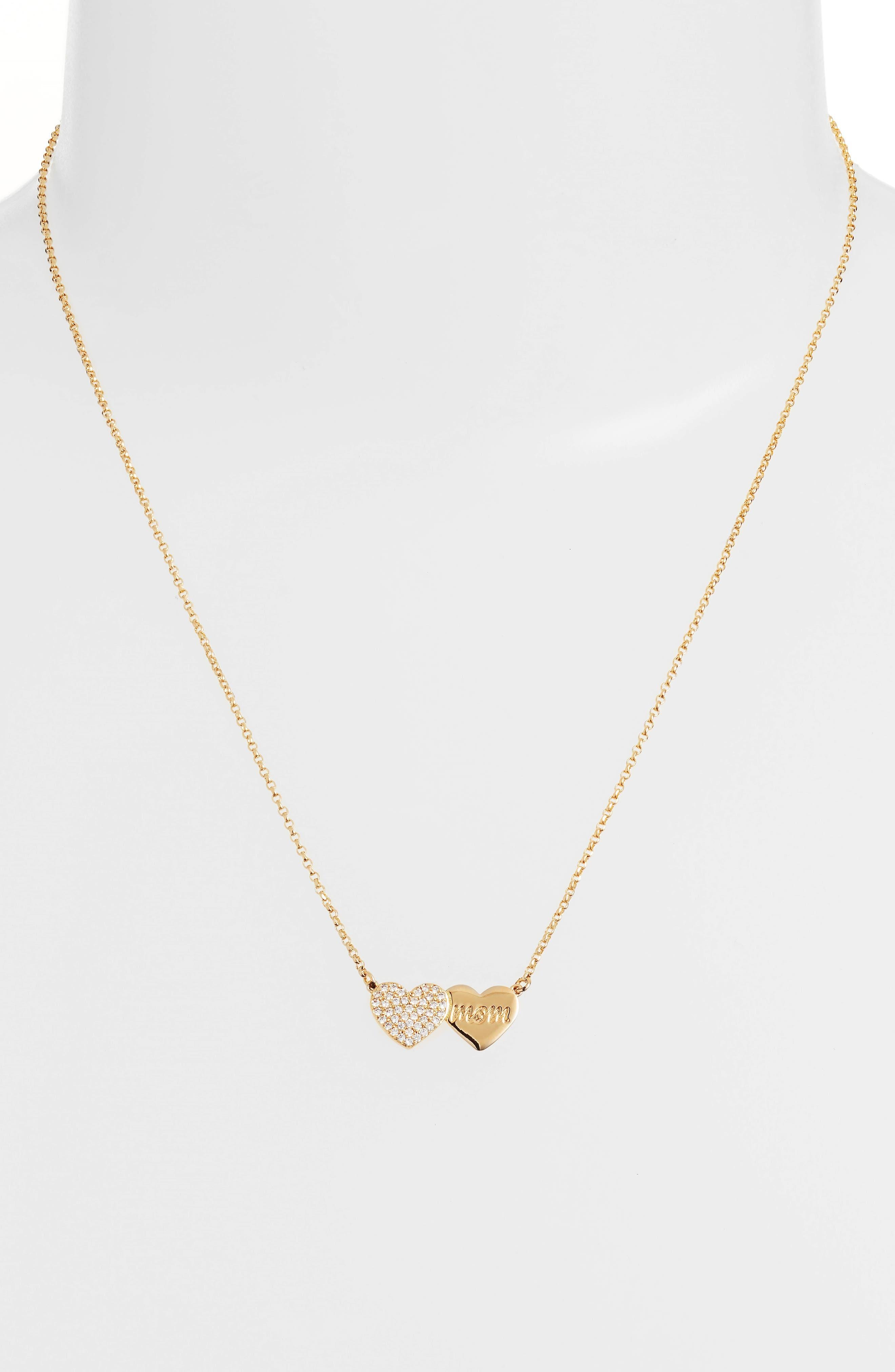 mom knows best pavé heart necklace,                             Alternate thumbnail 2, color,                             Gold