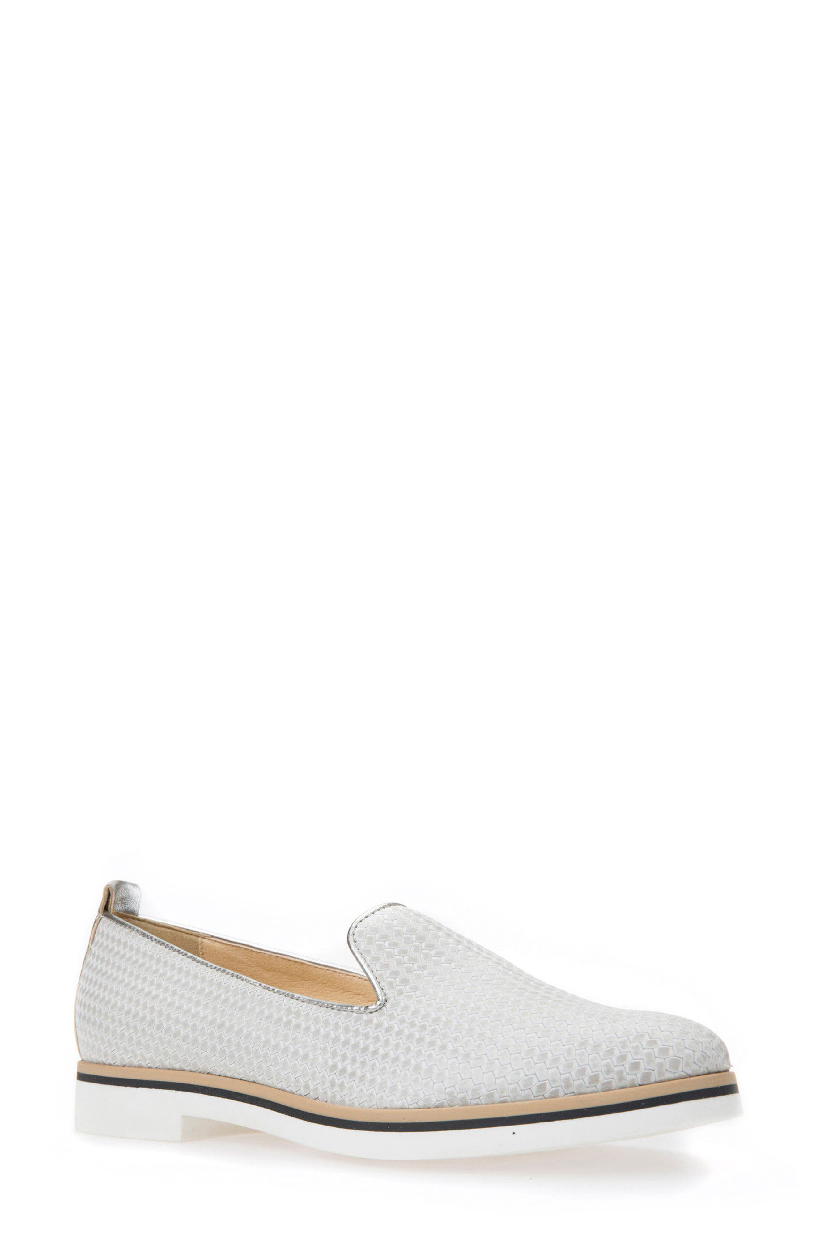 Janalee Woven Loafer,                             Main thumbnail 1, color,                             Light Grey Leather