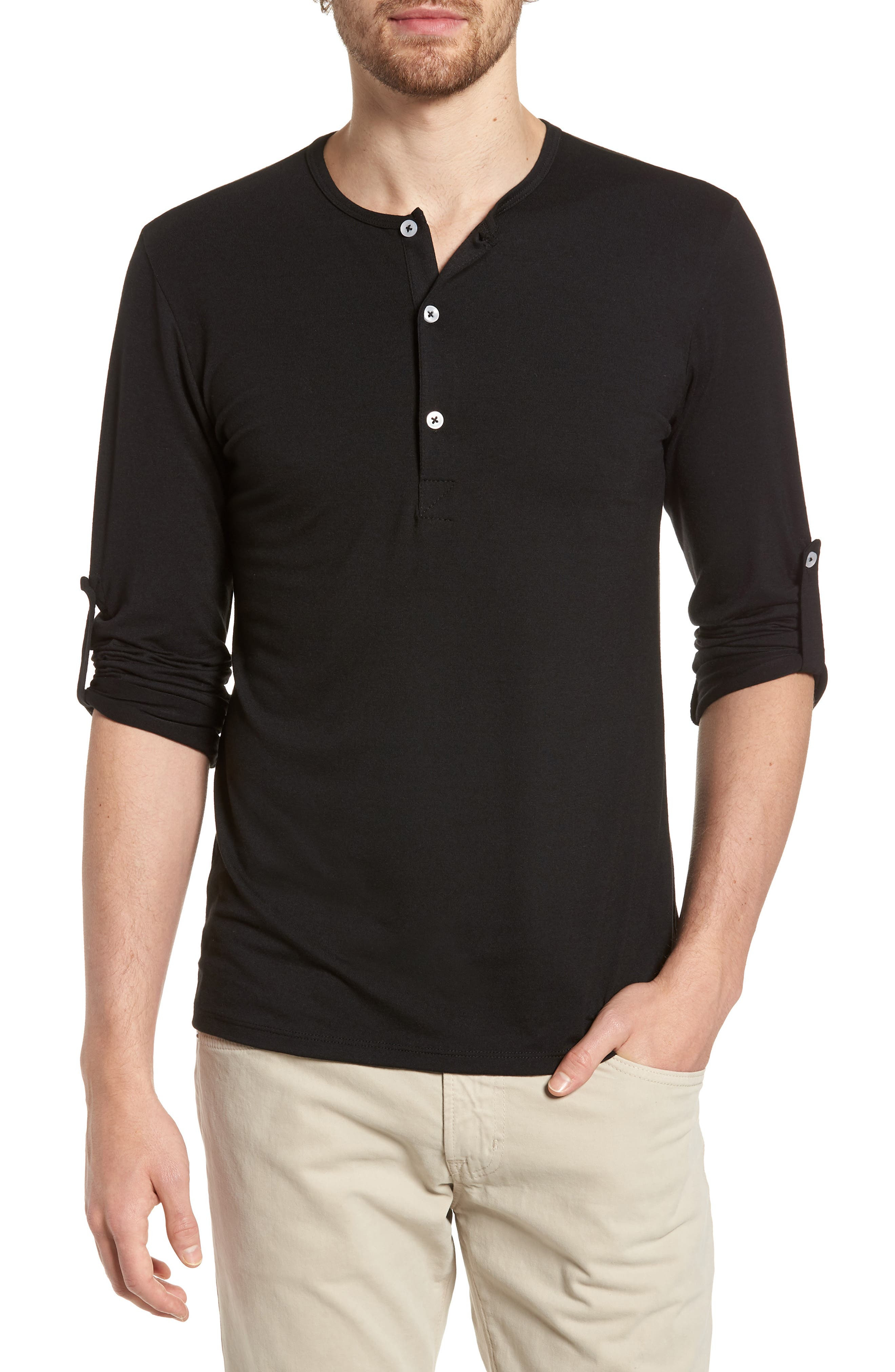 Mizzen Henley,                             Main thumbnail 1, color,                             Black / Black