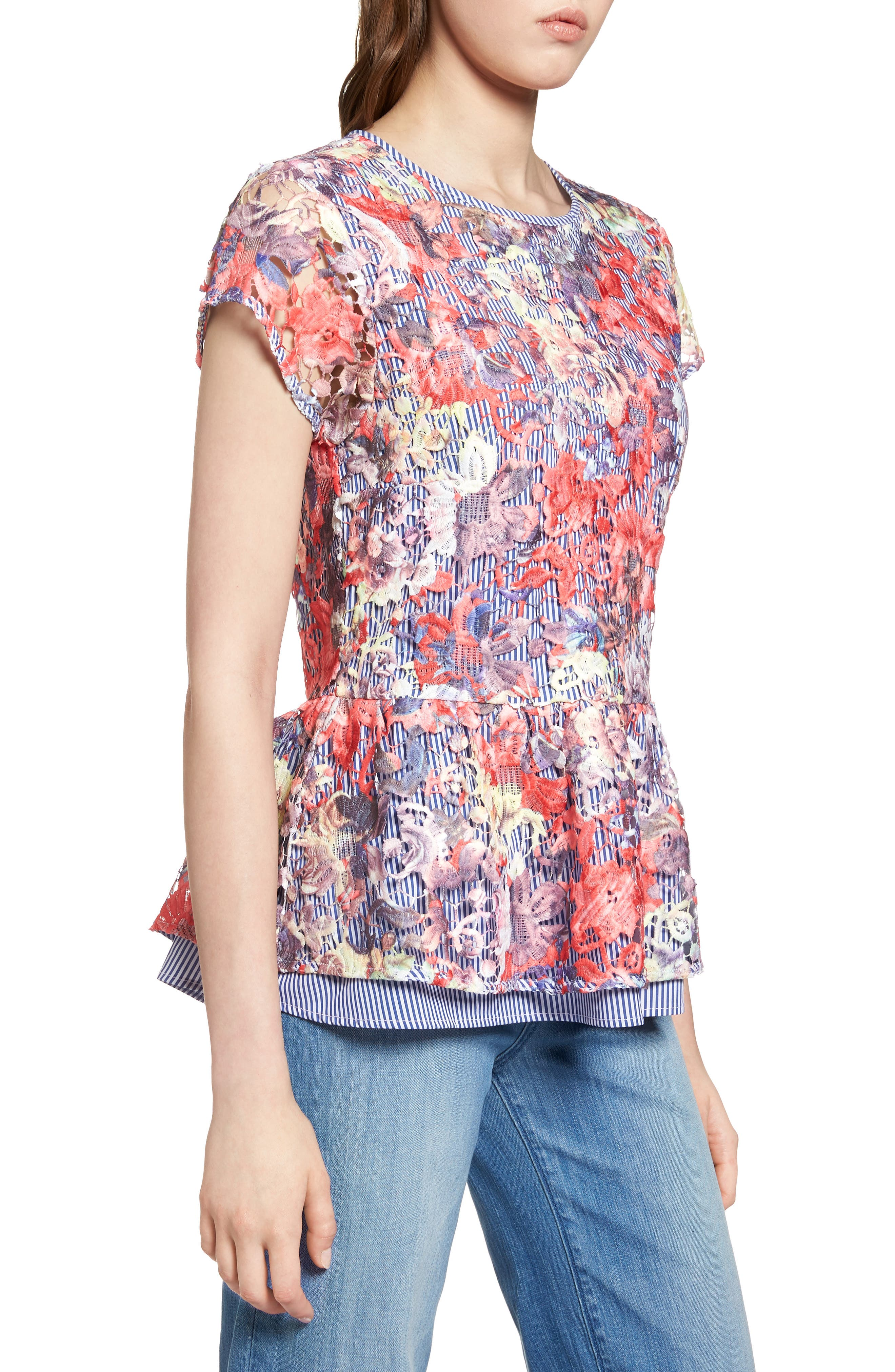 Lace Overlay Stripe Peplum Top,                             Alternate thumbnail 3, color,                             Coral Multi Lace