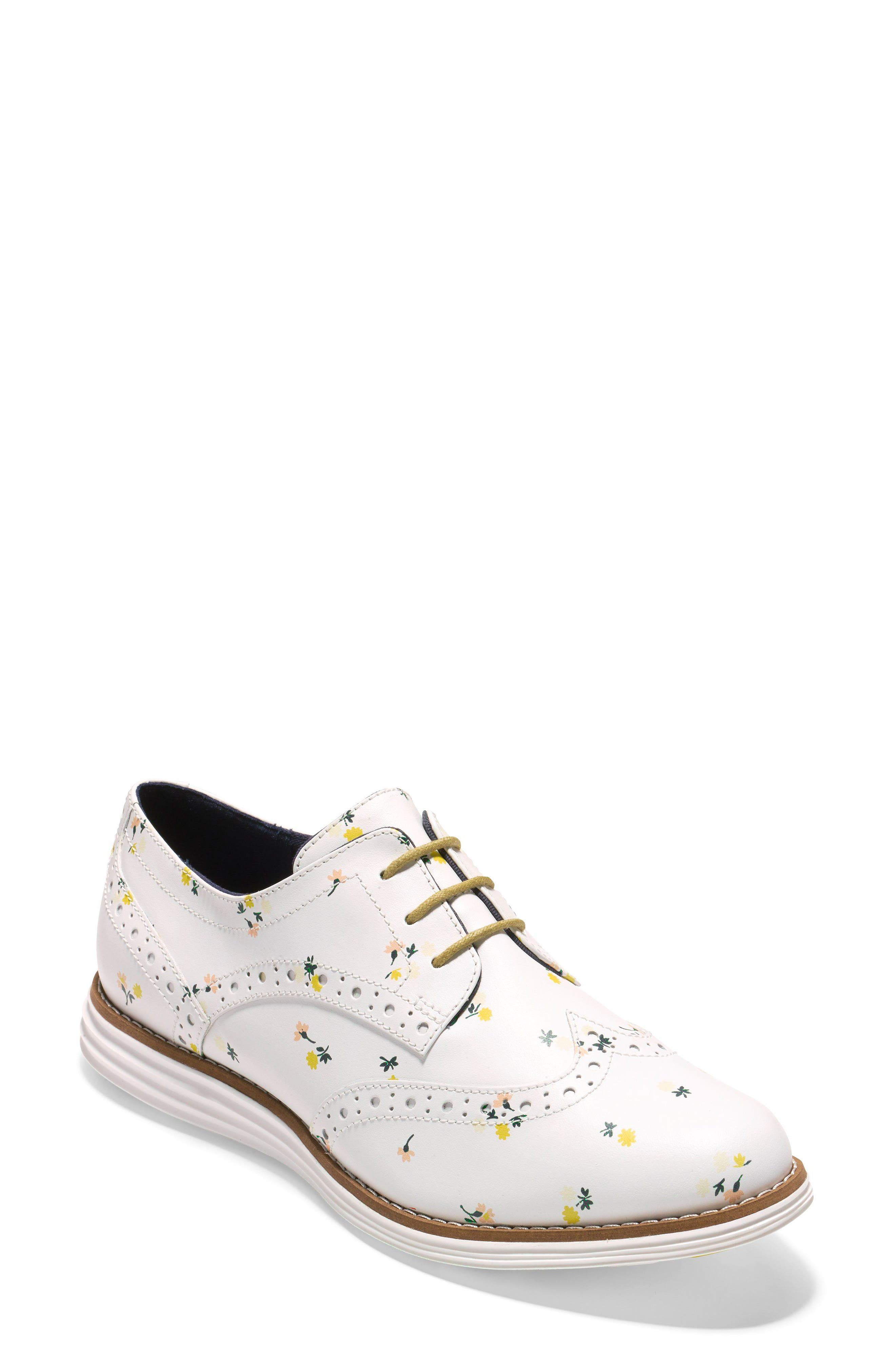 'Original Grand' Wingtip Oxford,                             Main thumbnail 1, color,                             Optic White Printed Leather