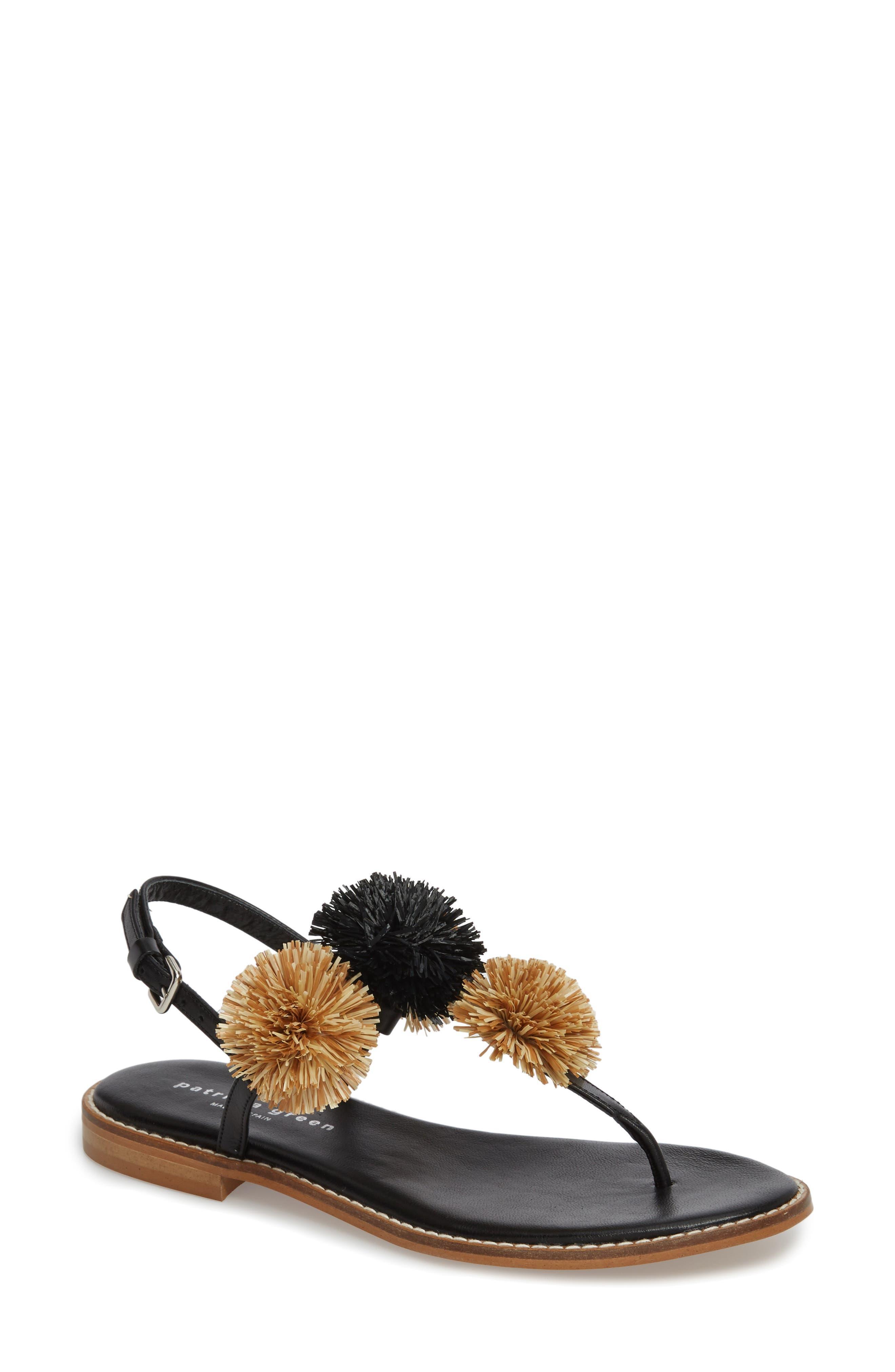 Pompom Thong Sandal,                             Main thumbnail 1, color,                             Black Leather