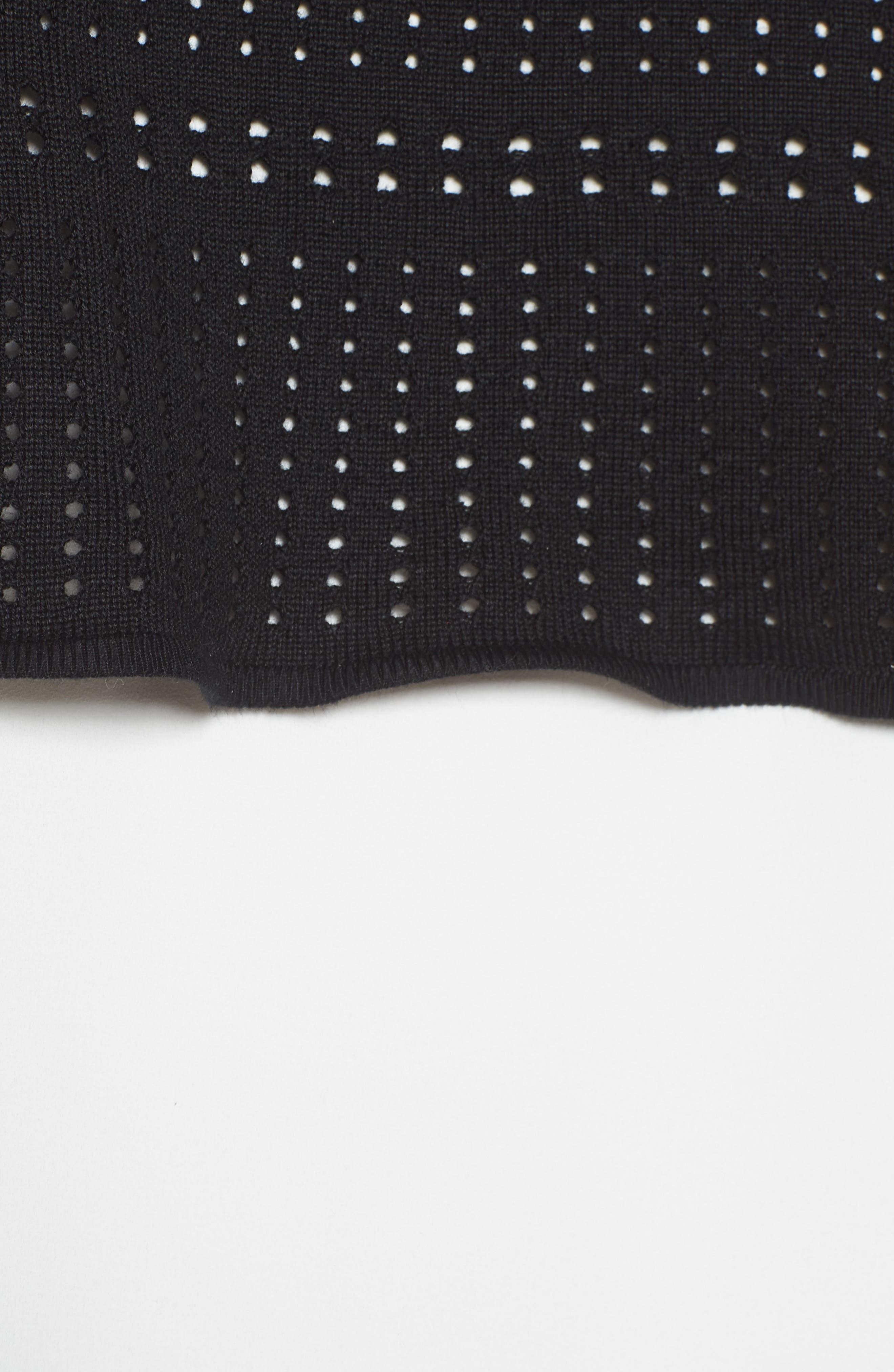 Mixed Media Tunic Top,                             Alternate thumbnail 5, color,                             White/ Black