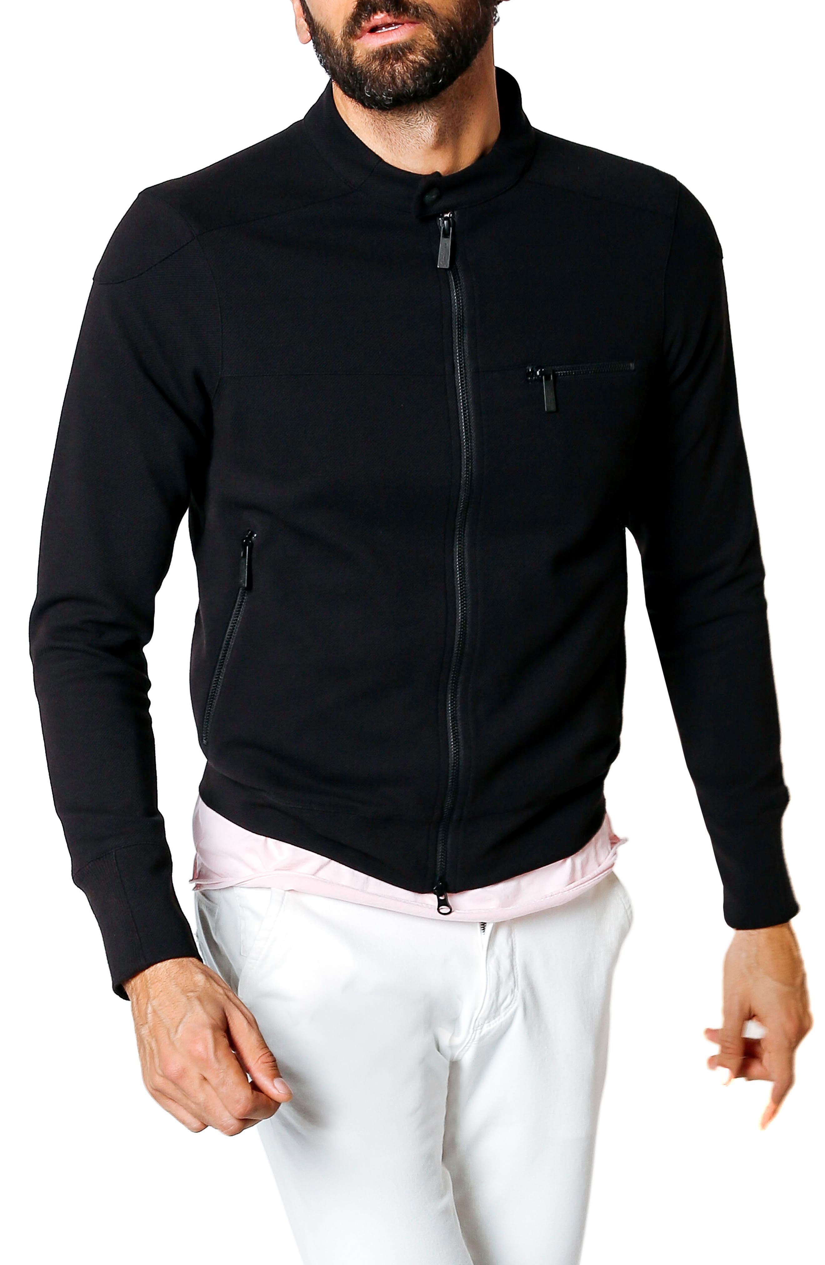 Tech Twill Trim Fit Moto Jacket,                         Main,                         color, Black