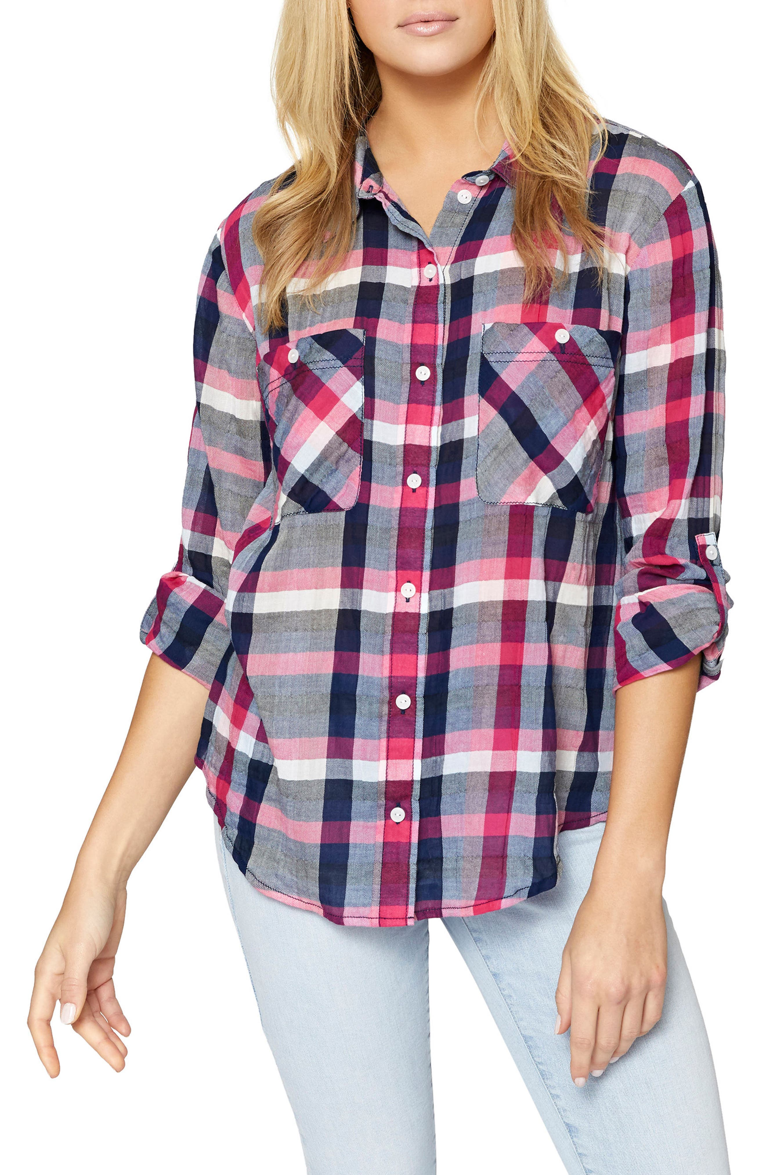 The Steady Boyfriend Shirt,                             Main thumbnail 1, color,                             Cheerful Check