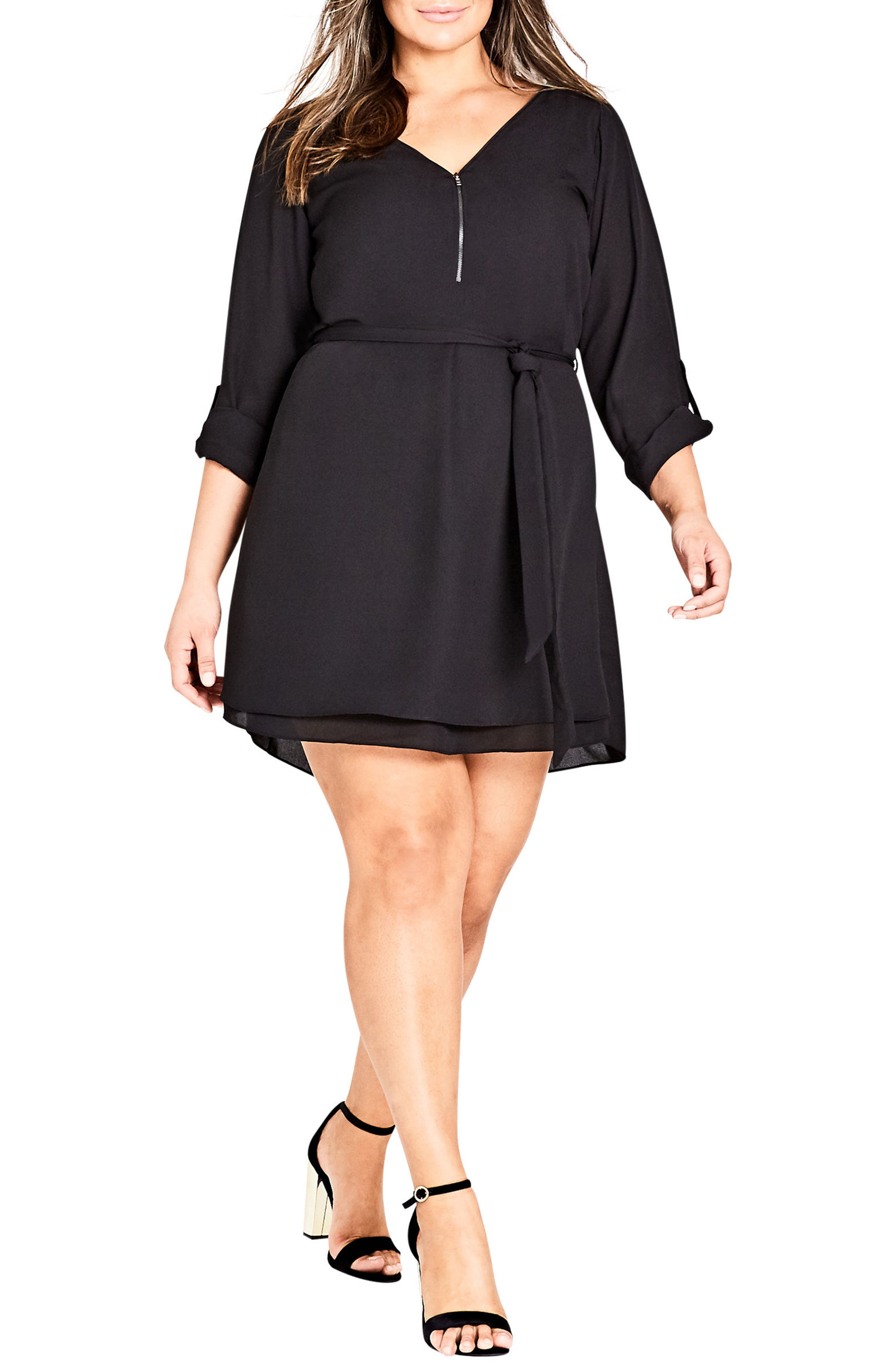 Zip Tunic Dress,                         Main,                         color, Black