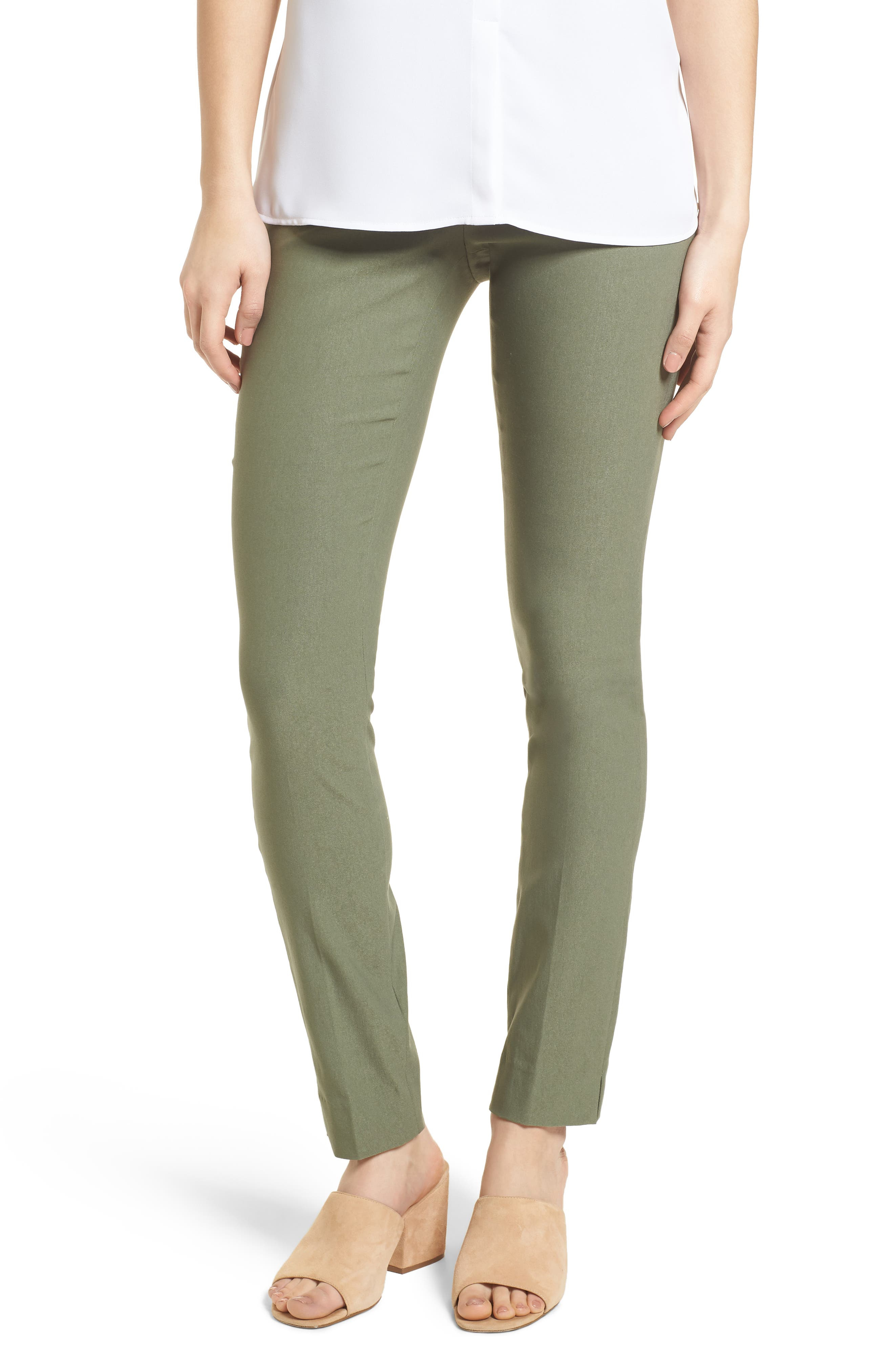 NIC + ZOE Wonderstretch Slim Pants,                         Main,                         color, Spring Moss
