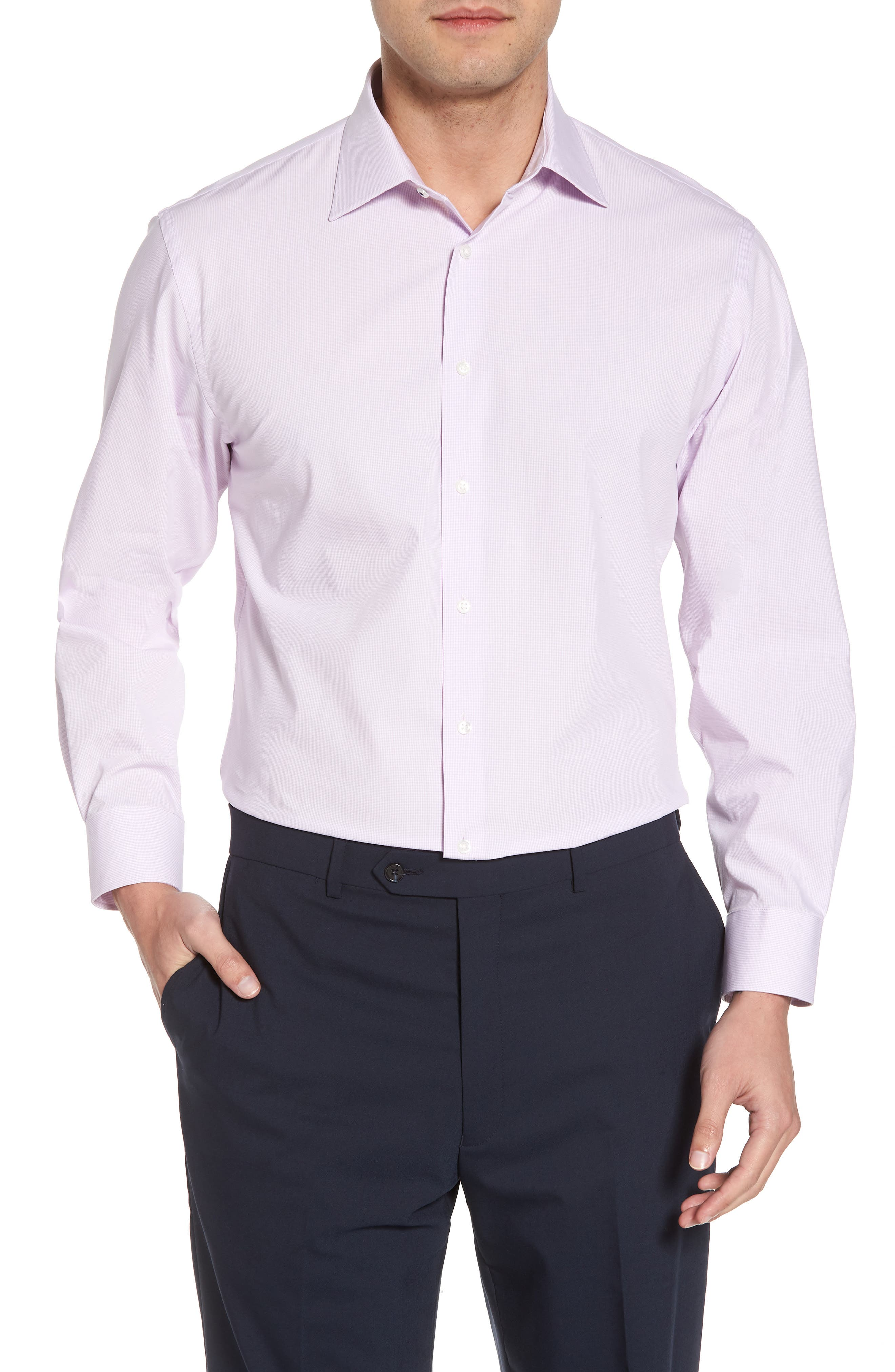 Tech-Smart Traditional Fit Stretch Microdot Dress Shirt,                         Main,                         color, Purple Bloom