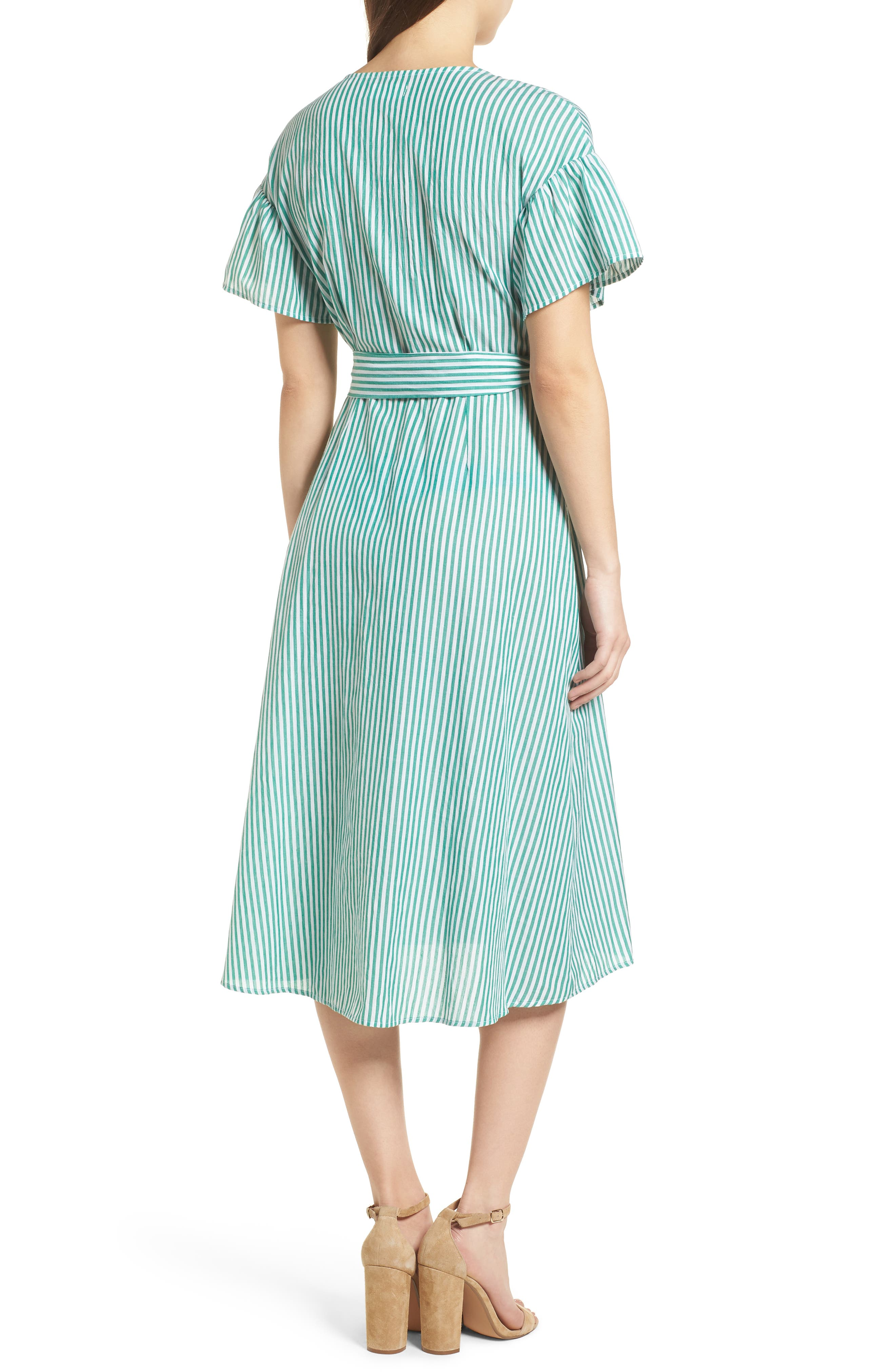 Stripe Cotton Wrap Dress,                             Alternate thumbnail 3, color,                             Green