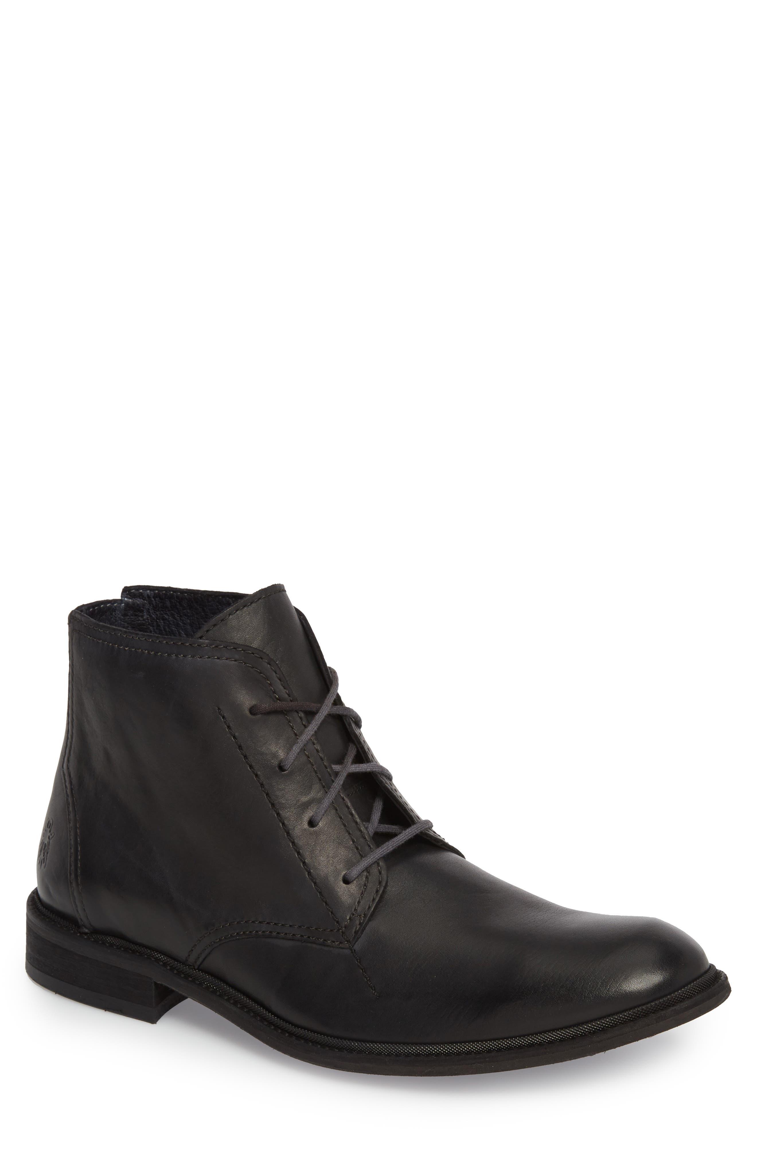 Hobi Plain Toe Chukka Boot,                             Main thumbnail 1, color,                             Black Leather