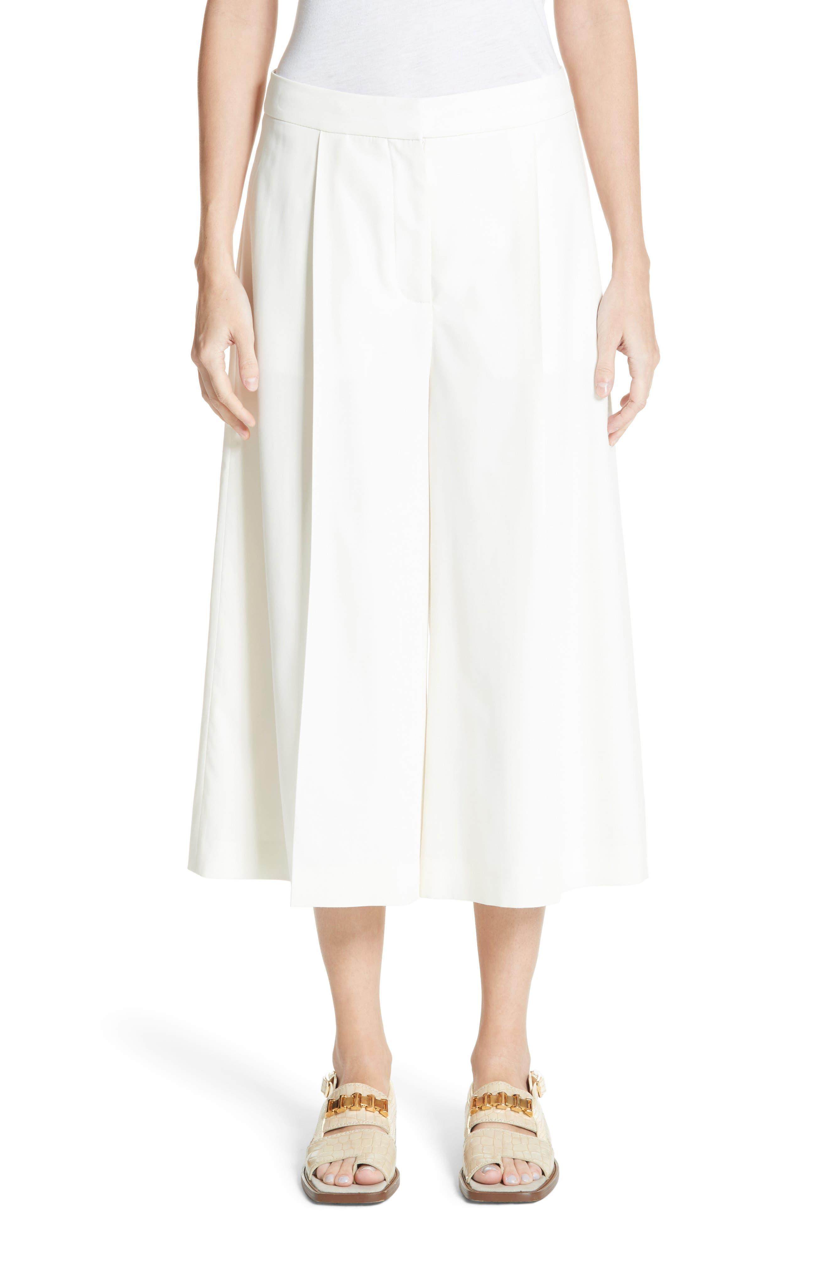 Wool Twill Culottes,                         Main,                         color, Cream