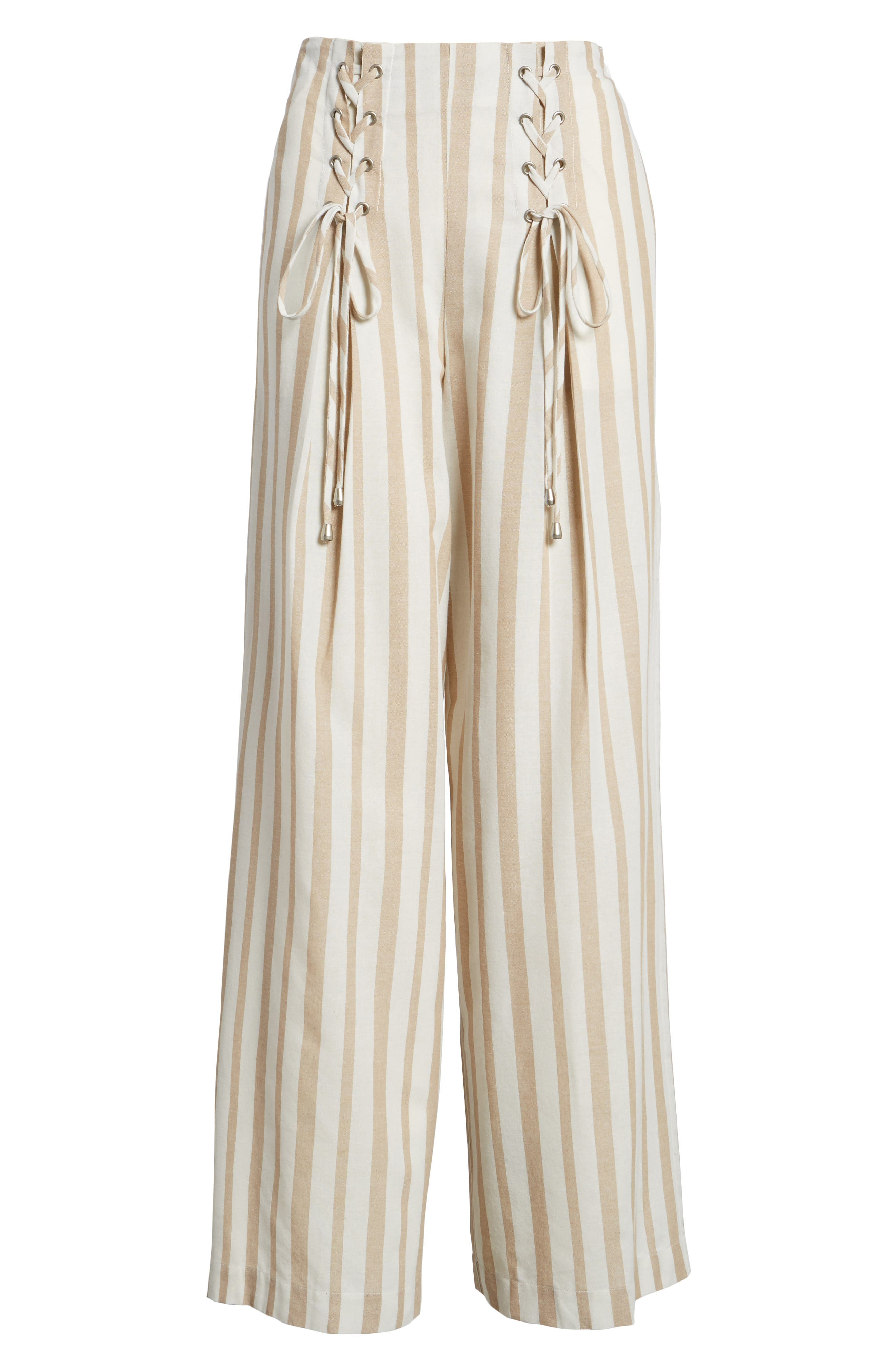 Chriselle x J.O.A. Lace-Up High Waist Wide Leg Pants,                             Alternate thumbnail 11, color,                             Sand Stripe