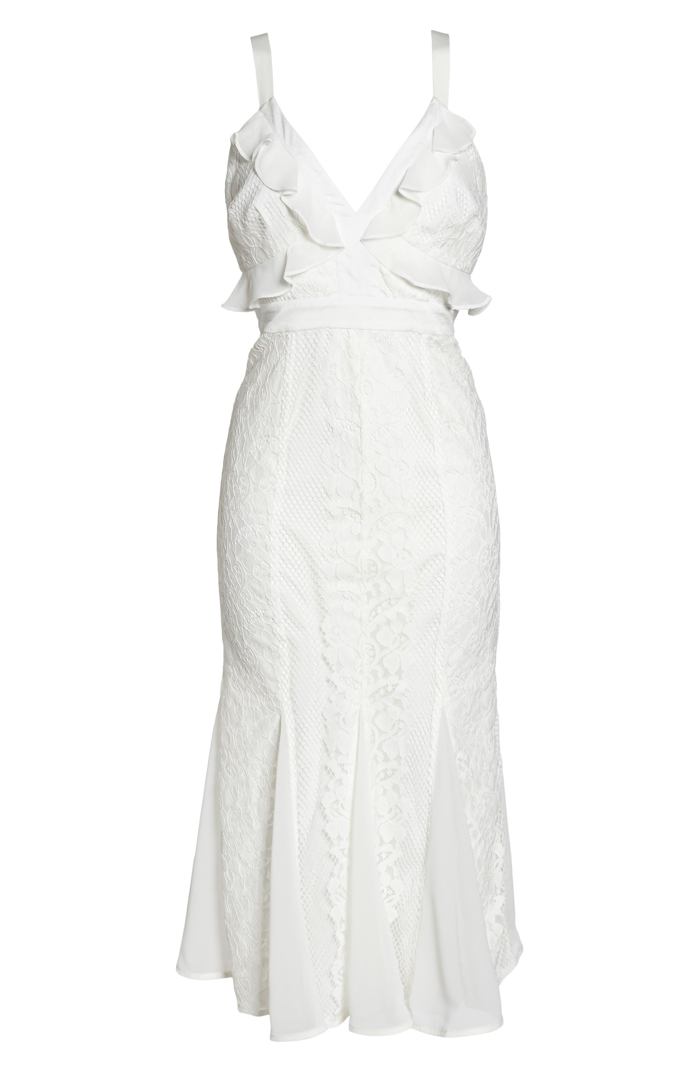 Adoring Ruffle Lace Midi Dress,                             Alternate thumbnail 4, color,                             White