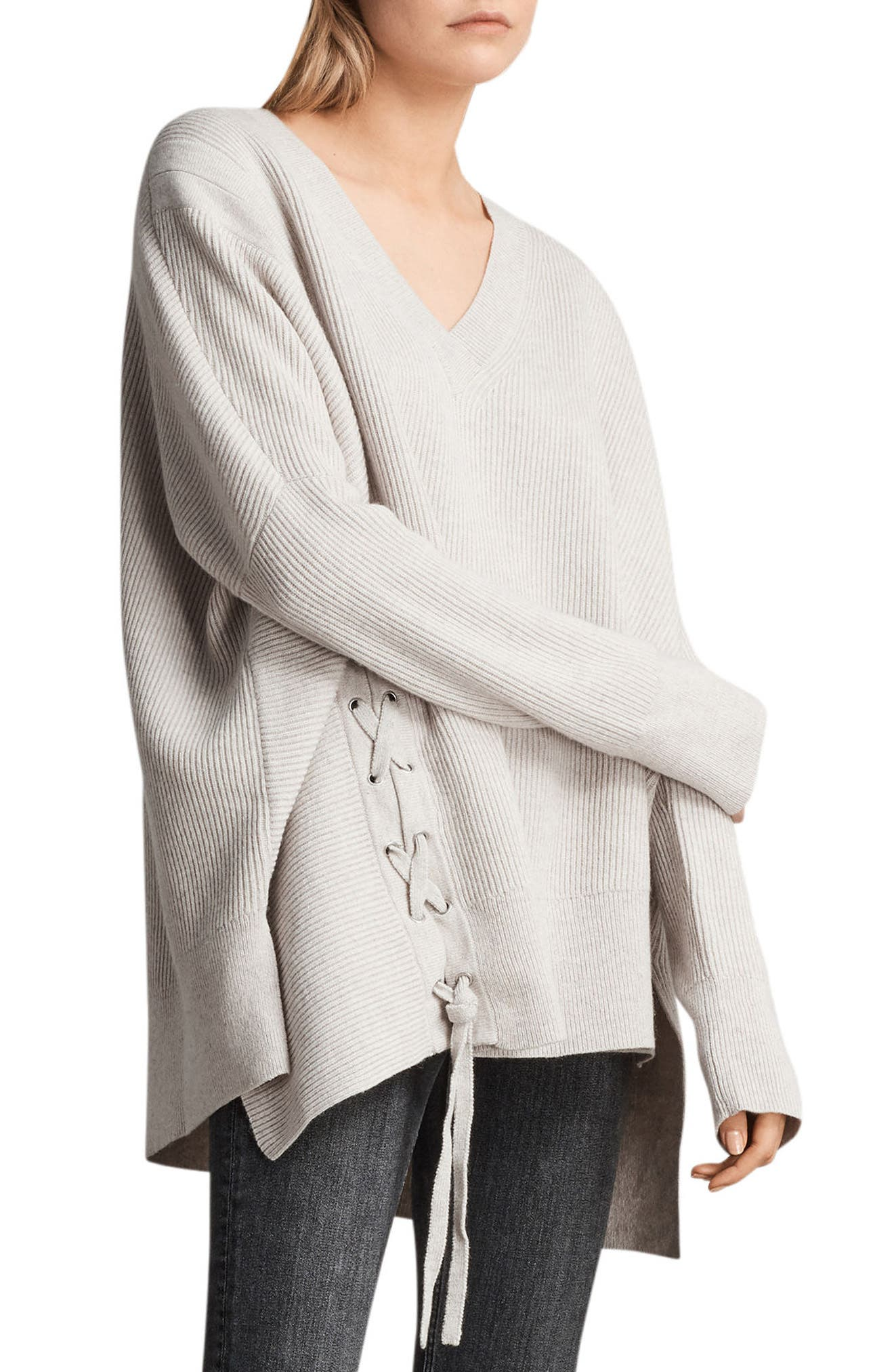Able Laced Sweater,                             Alternate thumbnail 4, color,                             Porcelain White