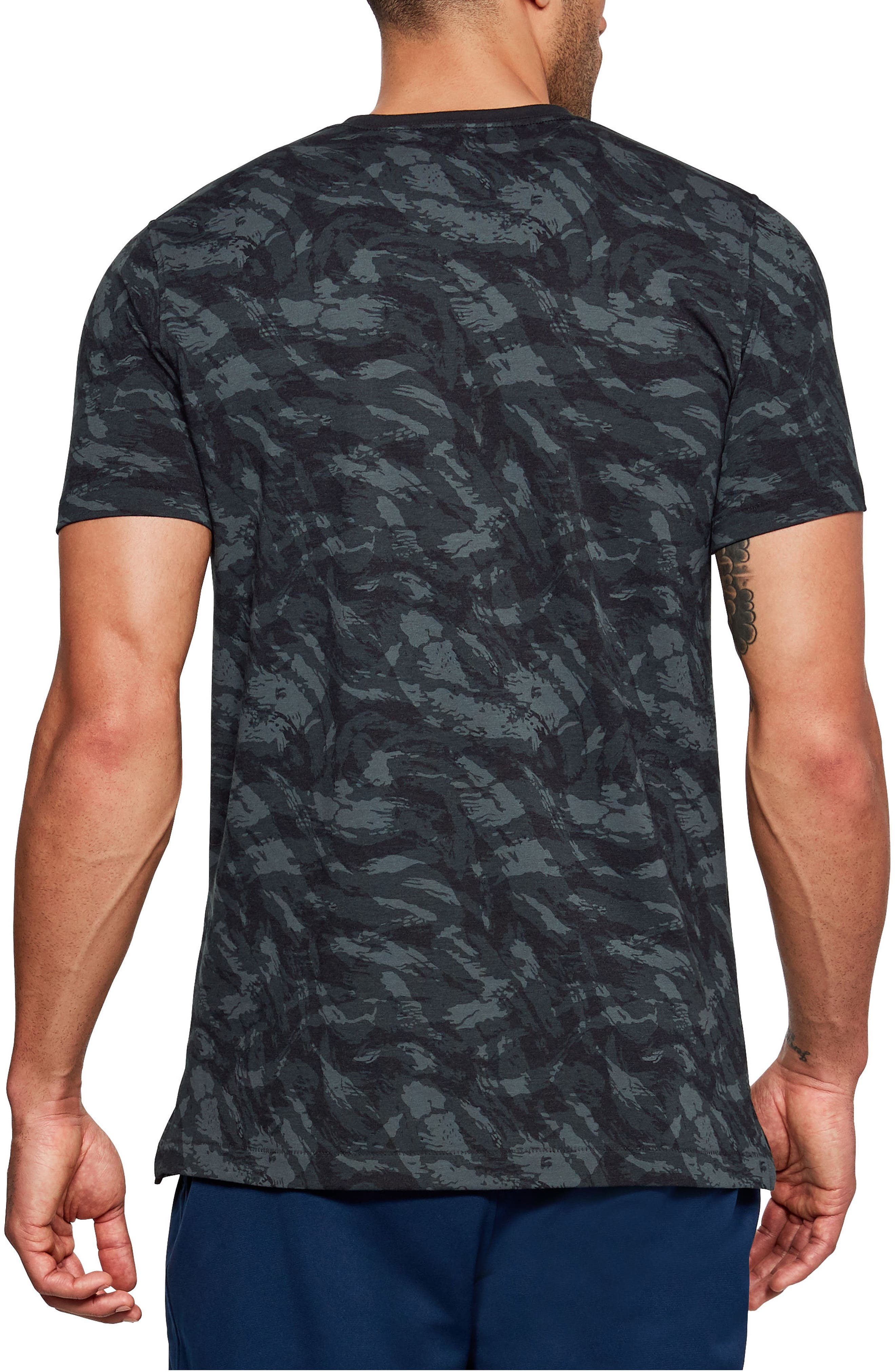 Sportstyle Print Charged Cotton<sup>®</sup> Fitted T-Shirt,                             Alternate thumbnail 2, color,                             Black/ Black