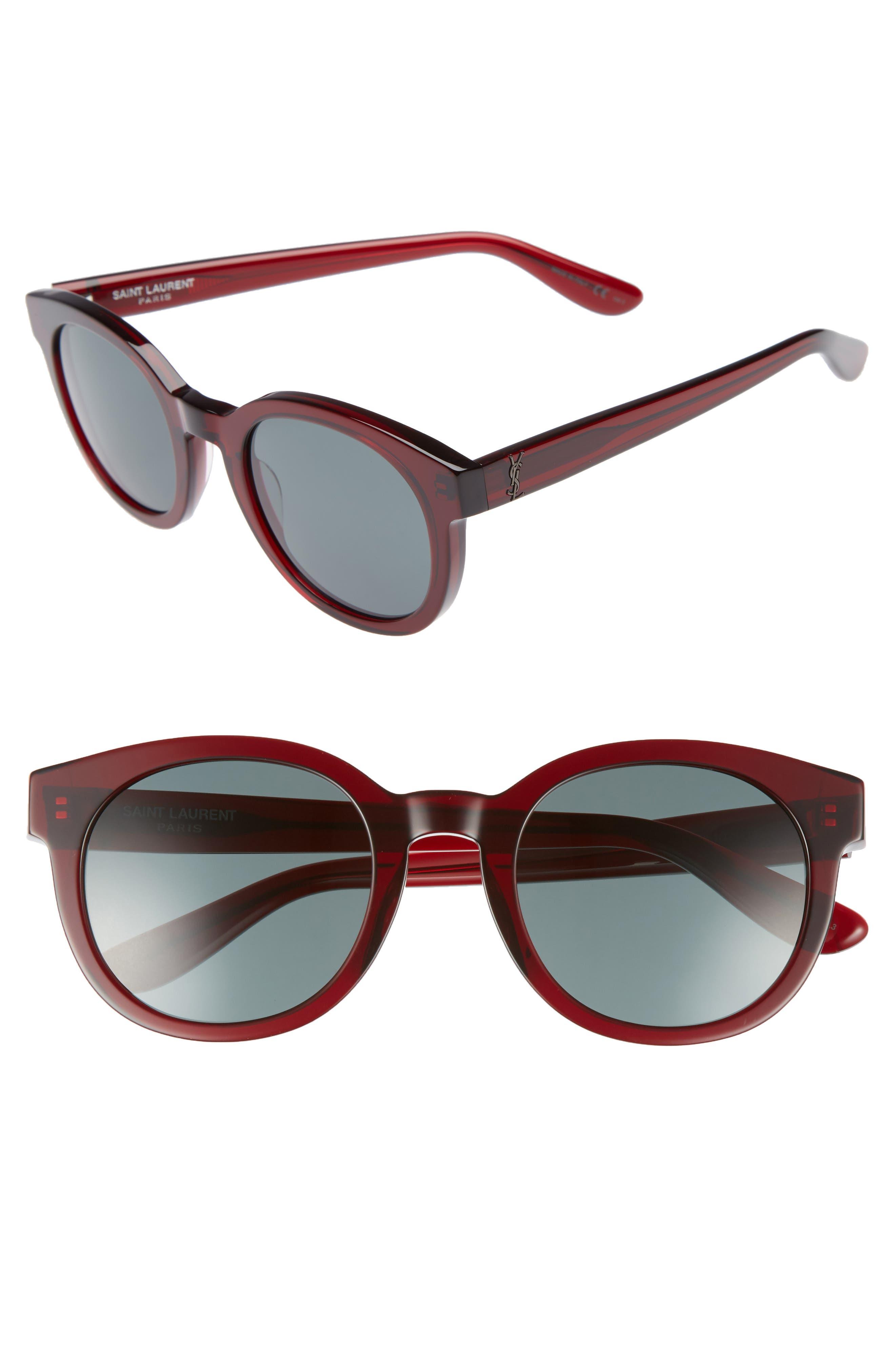 51mm Round Sunglasses,                             Main thumbnail 1, color,                             Burgundy
