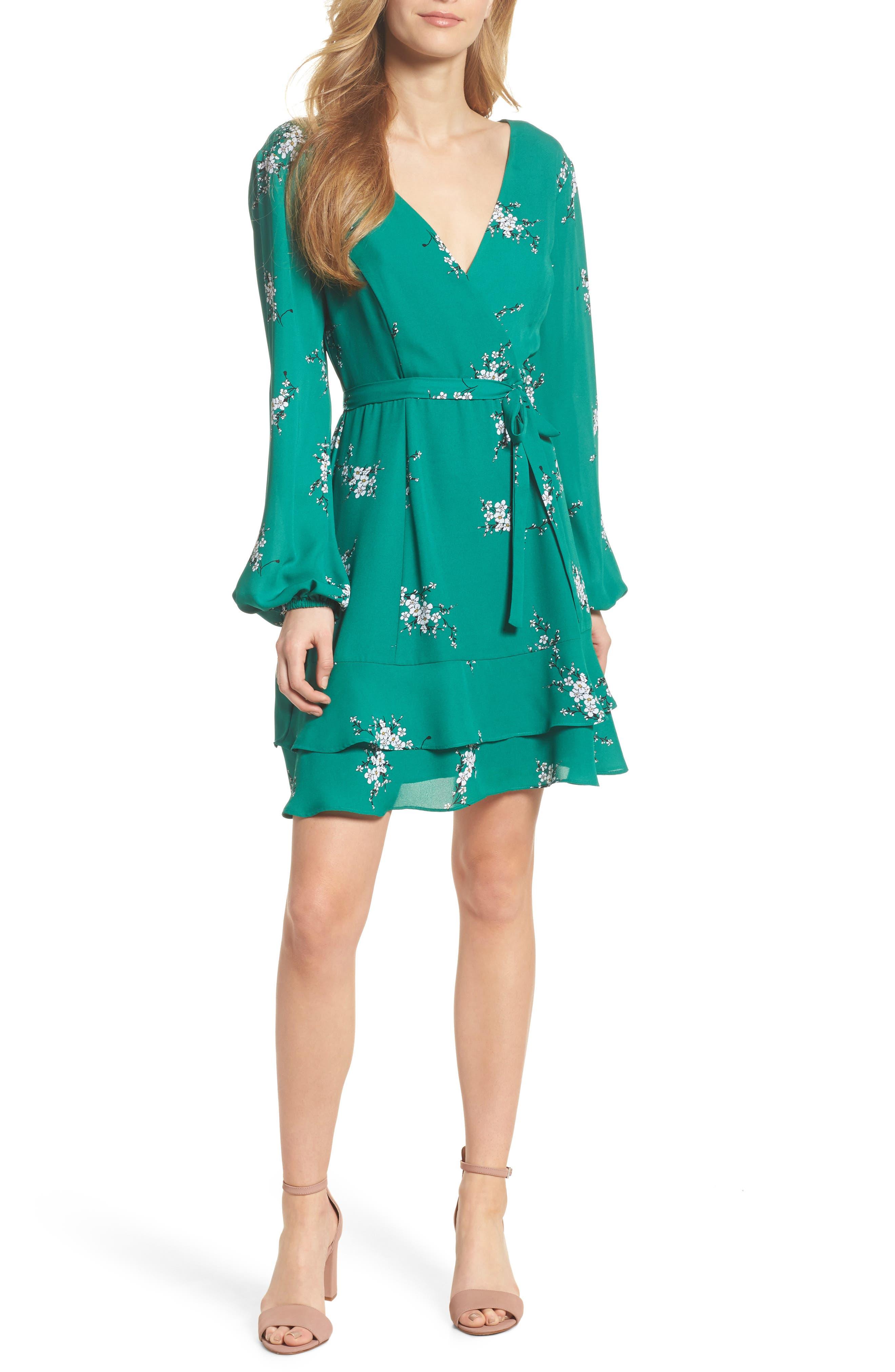 Floral Faux Wrap Dress,                         Main,                         color, Green Branch Floral