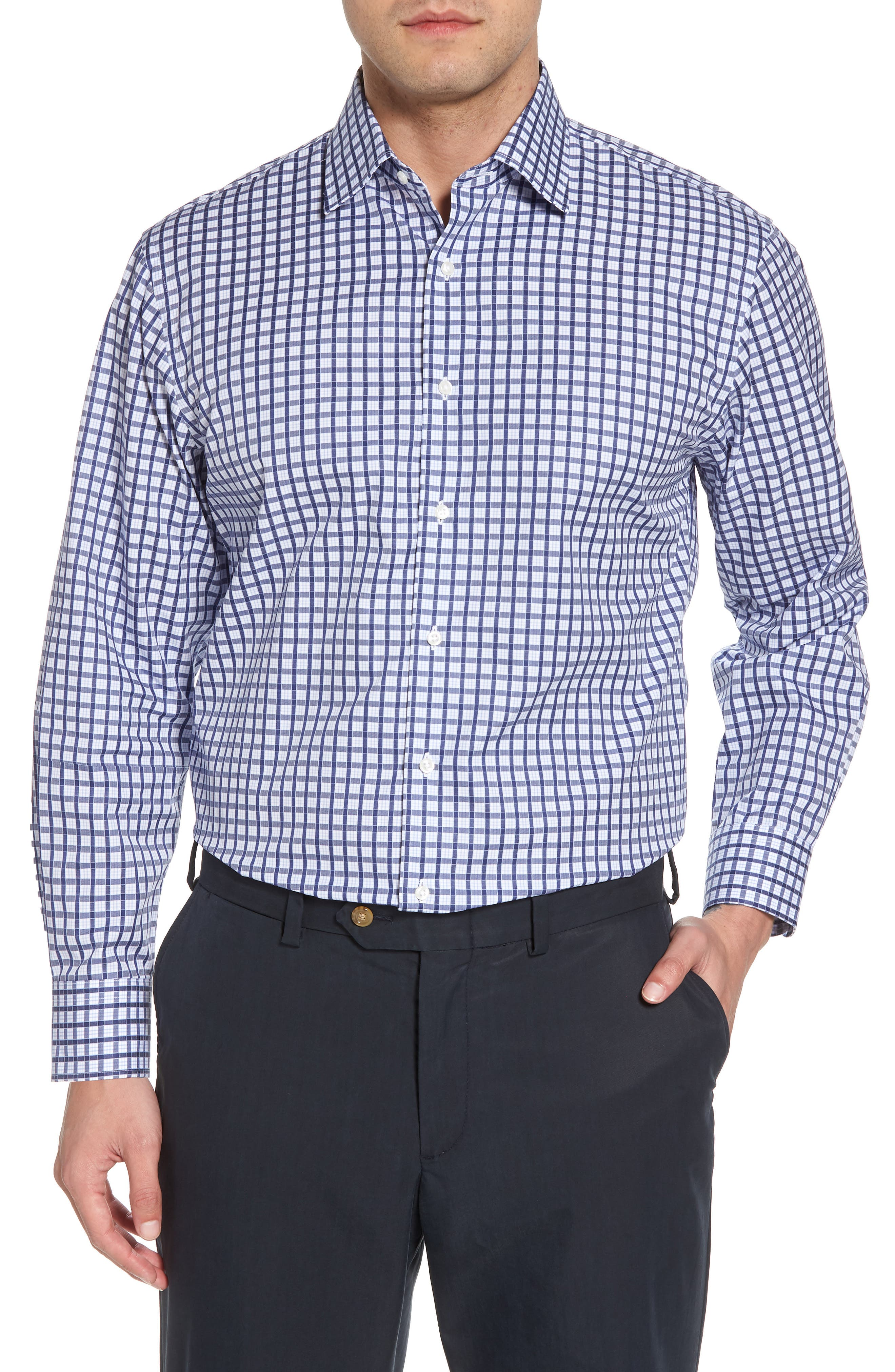 Traditional Fit Check Dress Shirt,                             Main thumbnail 1, color,                             Navy Ribbon