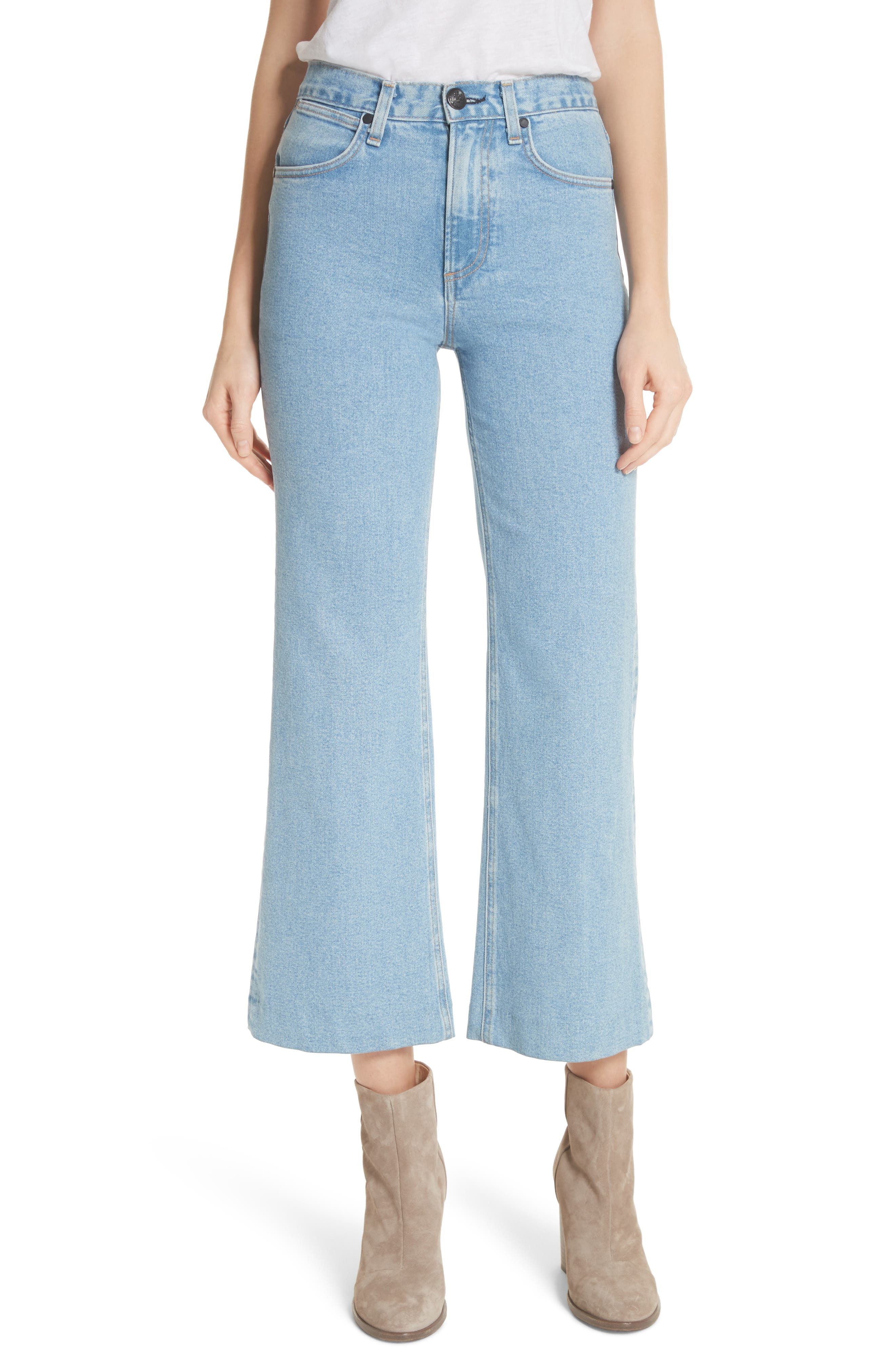 Justine High Waist Wide Leg Trouser Jeans,                             Main thumbnail 1, color,                             Broken Nelly