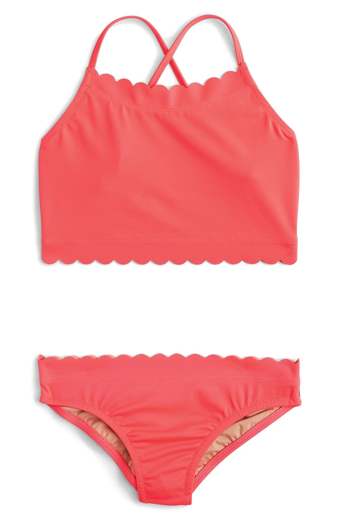 crewcuts by J.Crew Scalloped Two-Piece Swimsuit (Toddler Girls, Little Girls & Big Girls)