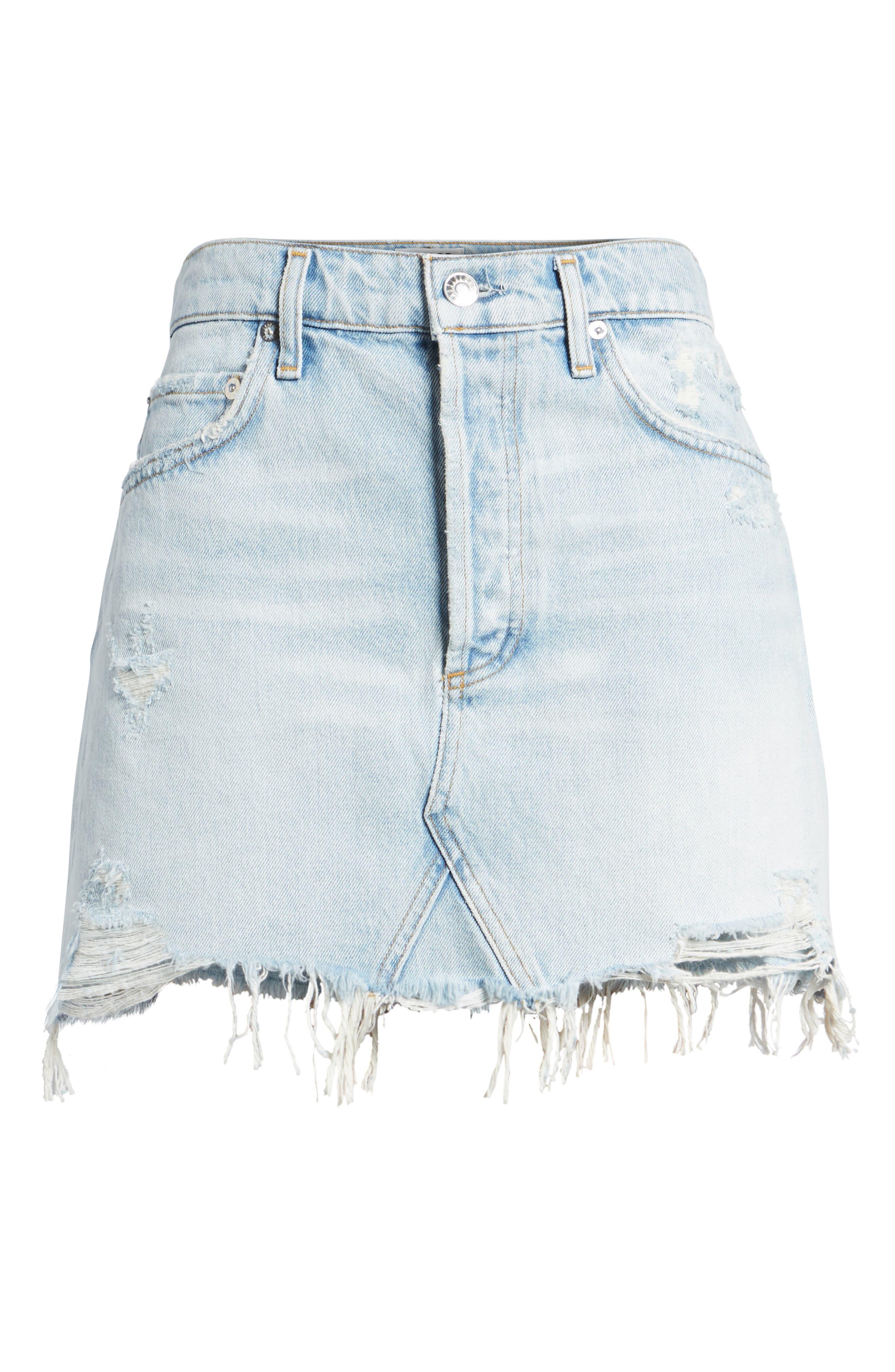Quinn High Waist Cutoff Denim Miniskirt,                             Alternate thumbnail 6, color,                             Vega
