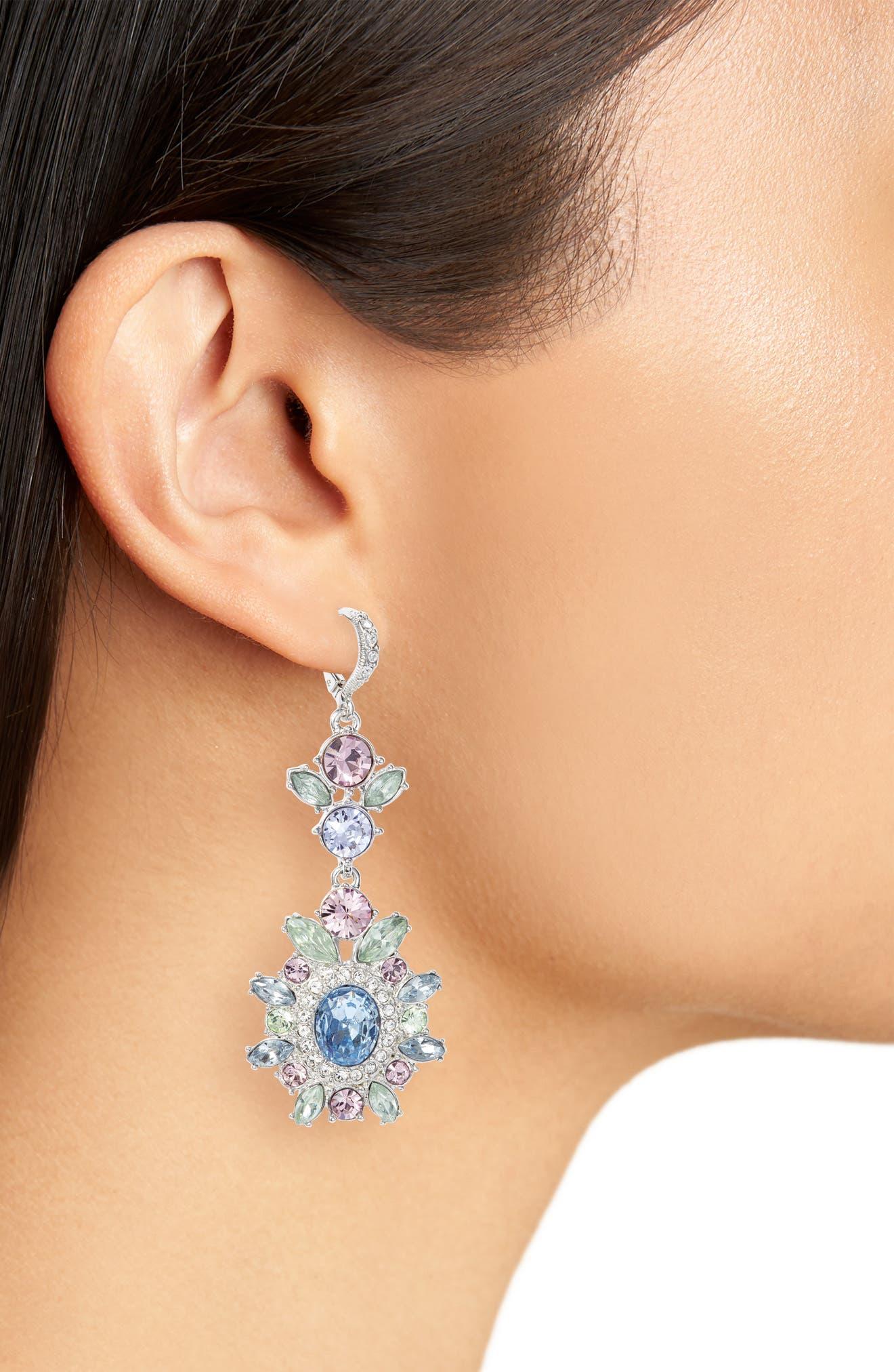Large Double Drop Crystal Earrings,                             Alternate thumbnail 2, color,                             Rhodium/ Pastel Multi