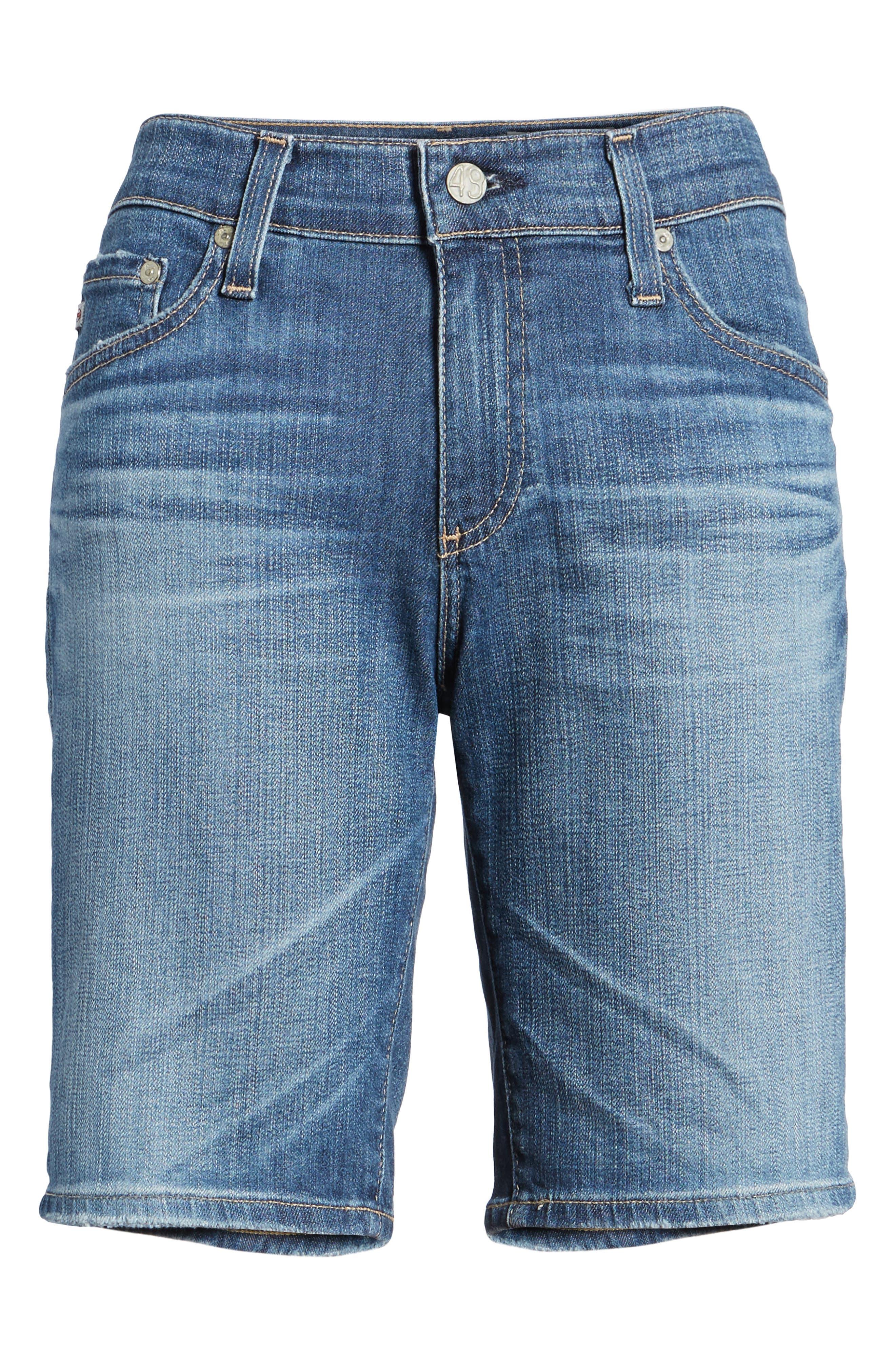 'Nikki' Distressed Denim Bermuda Shorts,                             Alternate thumbnail 6, color,                             11 Years Sapphire Sky