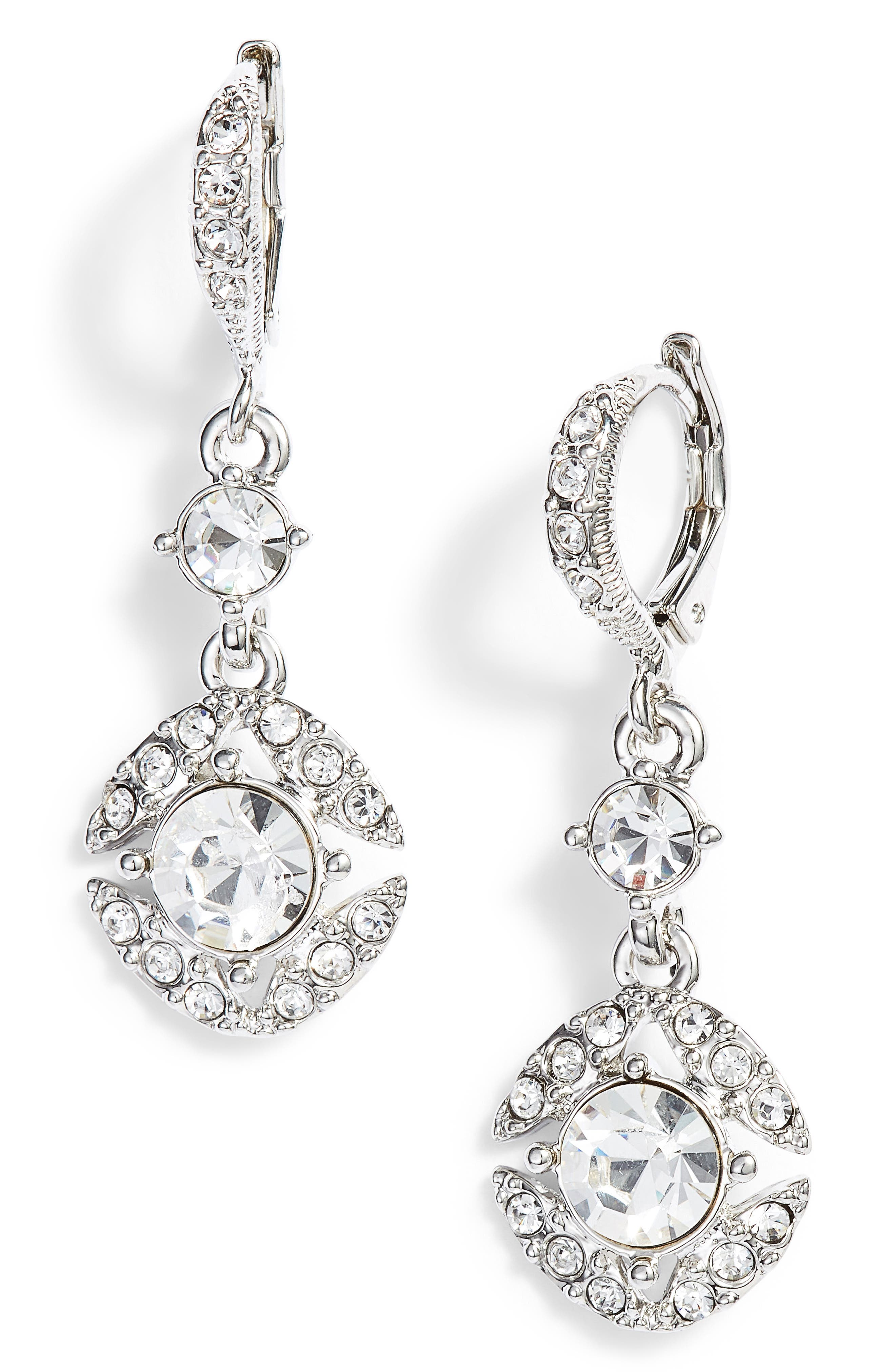 Crystal Drop Earrings,                             Main thumbnail 1, color,                             Silver/ Crystal