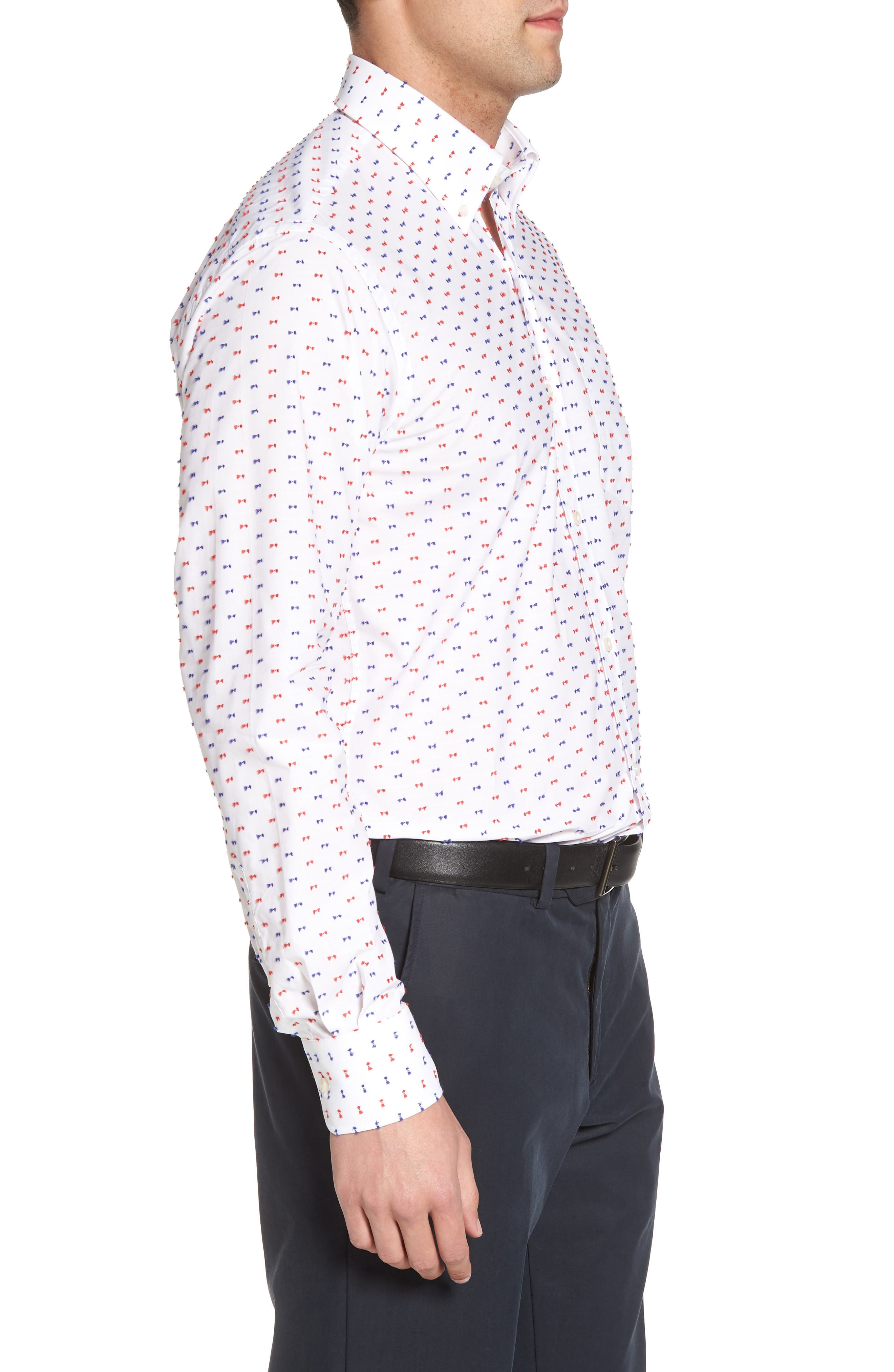 Paul&Shark Regular Fit Feathered Sport Shirt,                             Alternate thumbnail 3, color,                             White