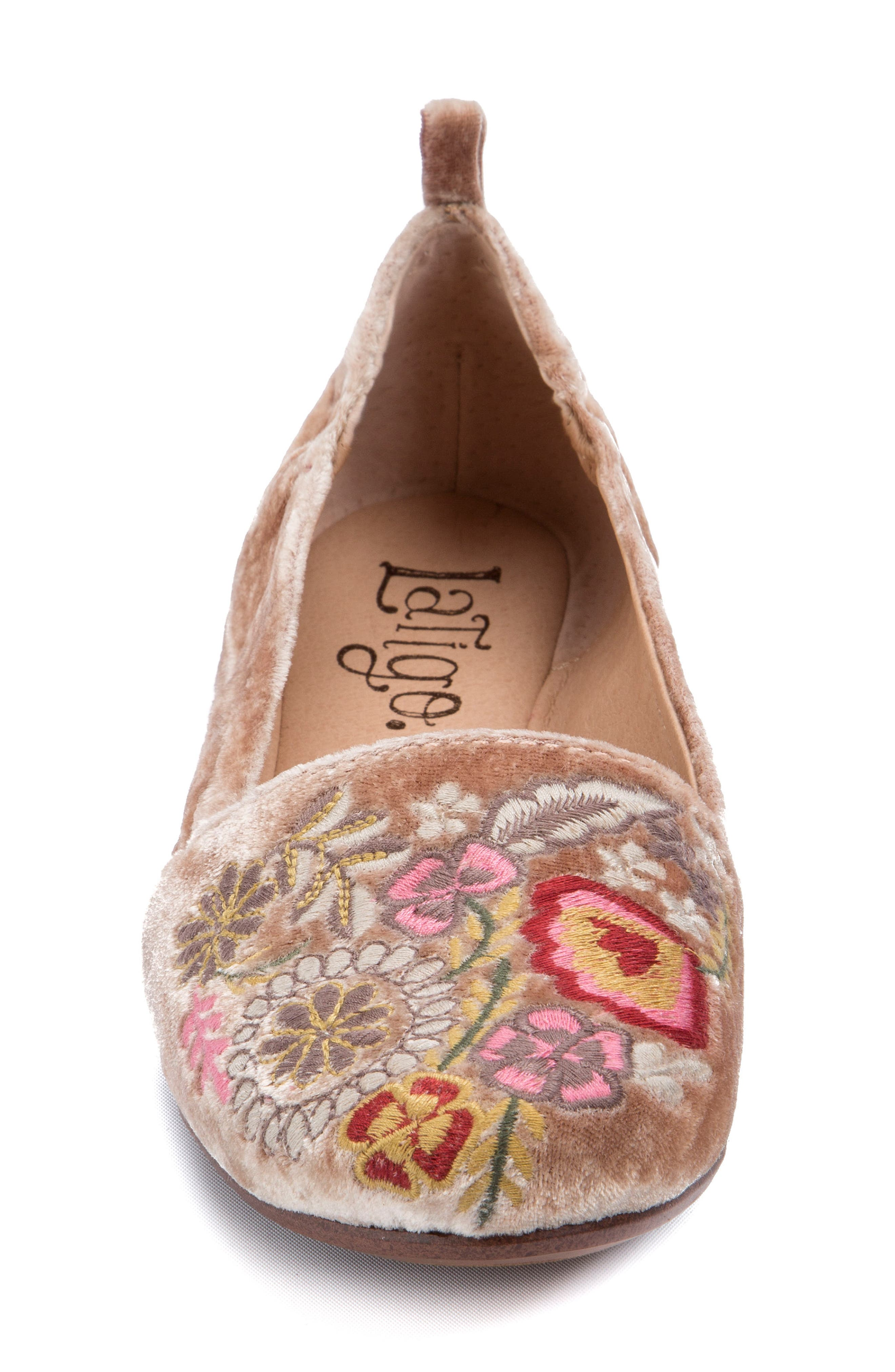 Gayla Floral Embroidered Flat,                             Alternate thumbnail 4, color,                             Rose Velvet