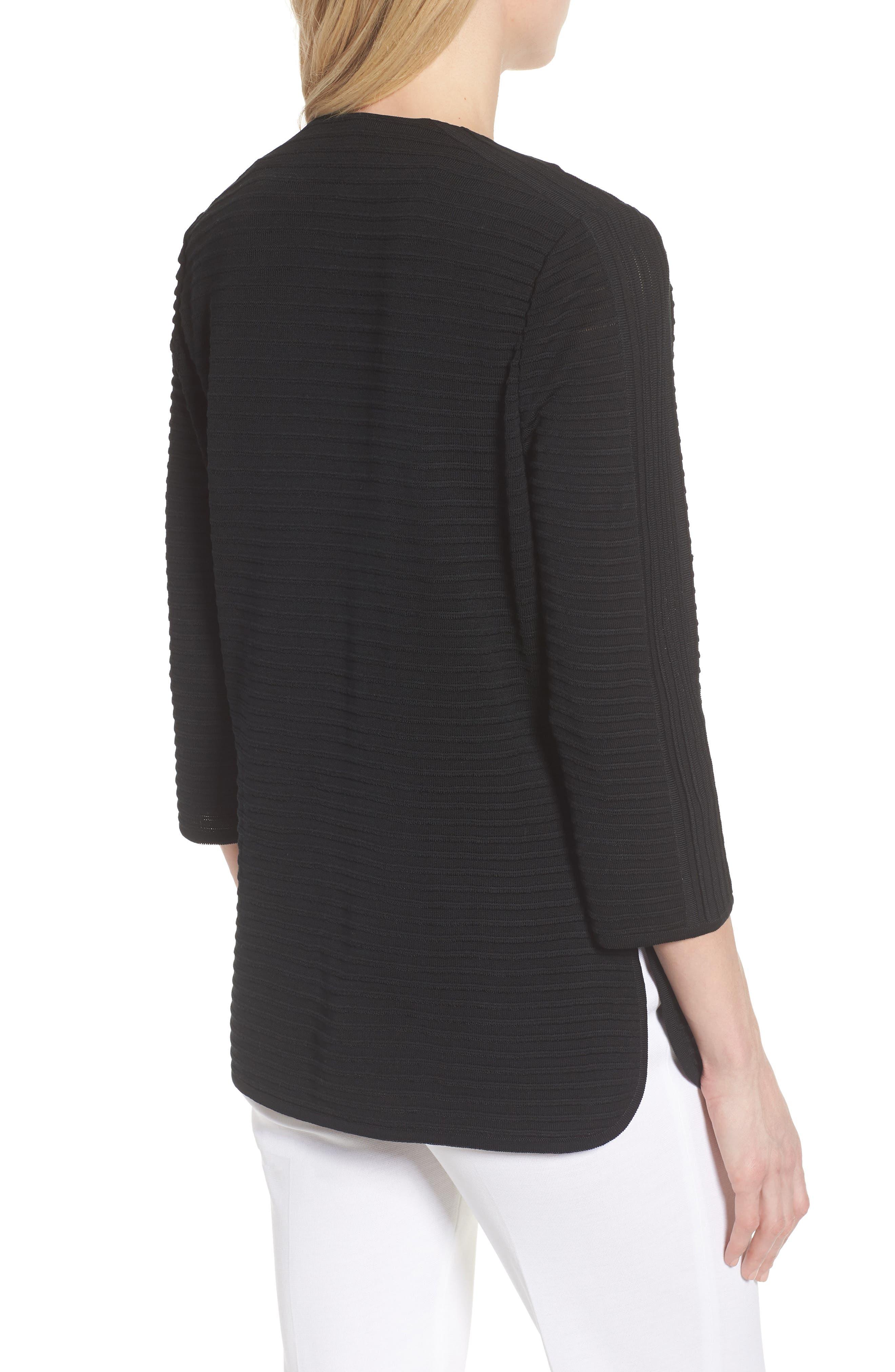 Ribbed Knit Jacket,                             Alternate thumbnail 2, color,                             Black