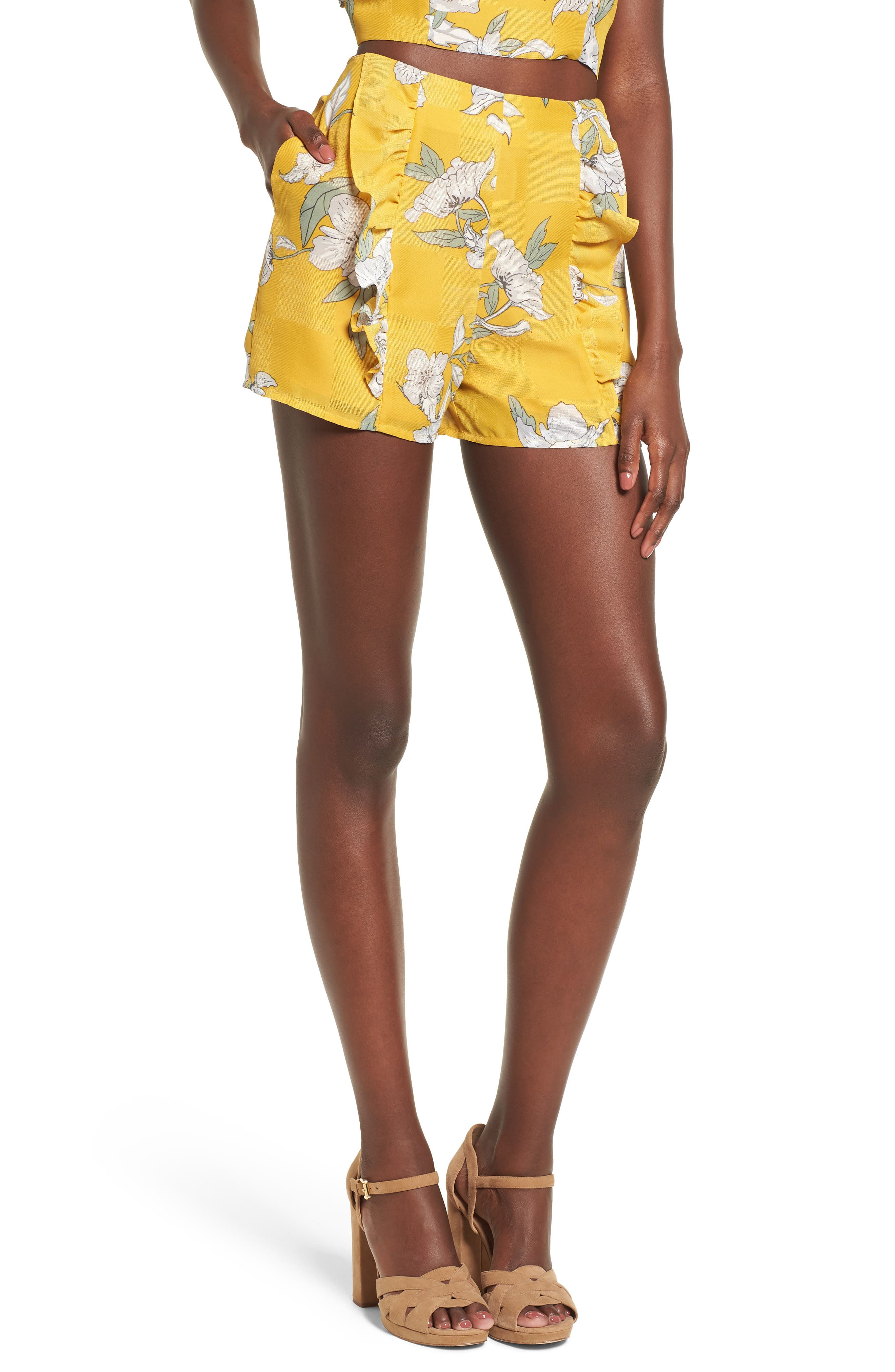 Main Image - Chriselle x J.O.A. Ruffle Front High Waist Shorts