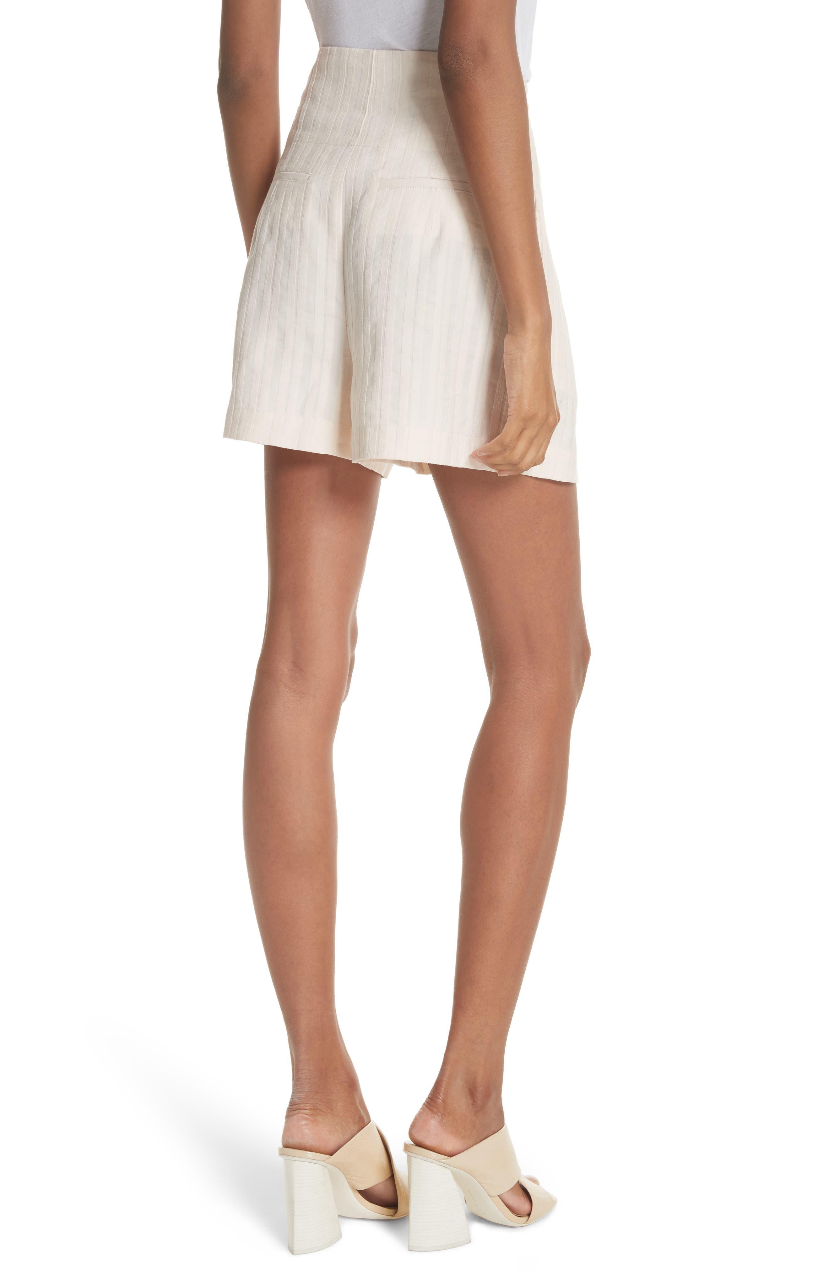 Textured Stripe Shorts,                             Alternate thumbnail 2, color,                             Creme Brulee