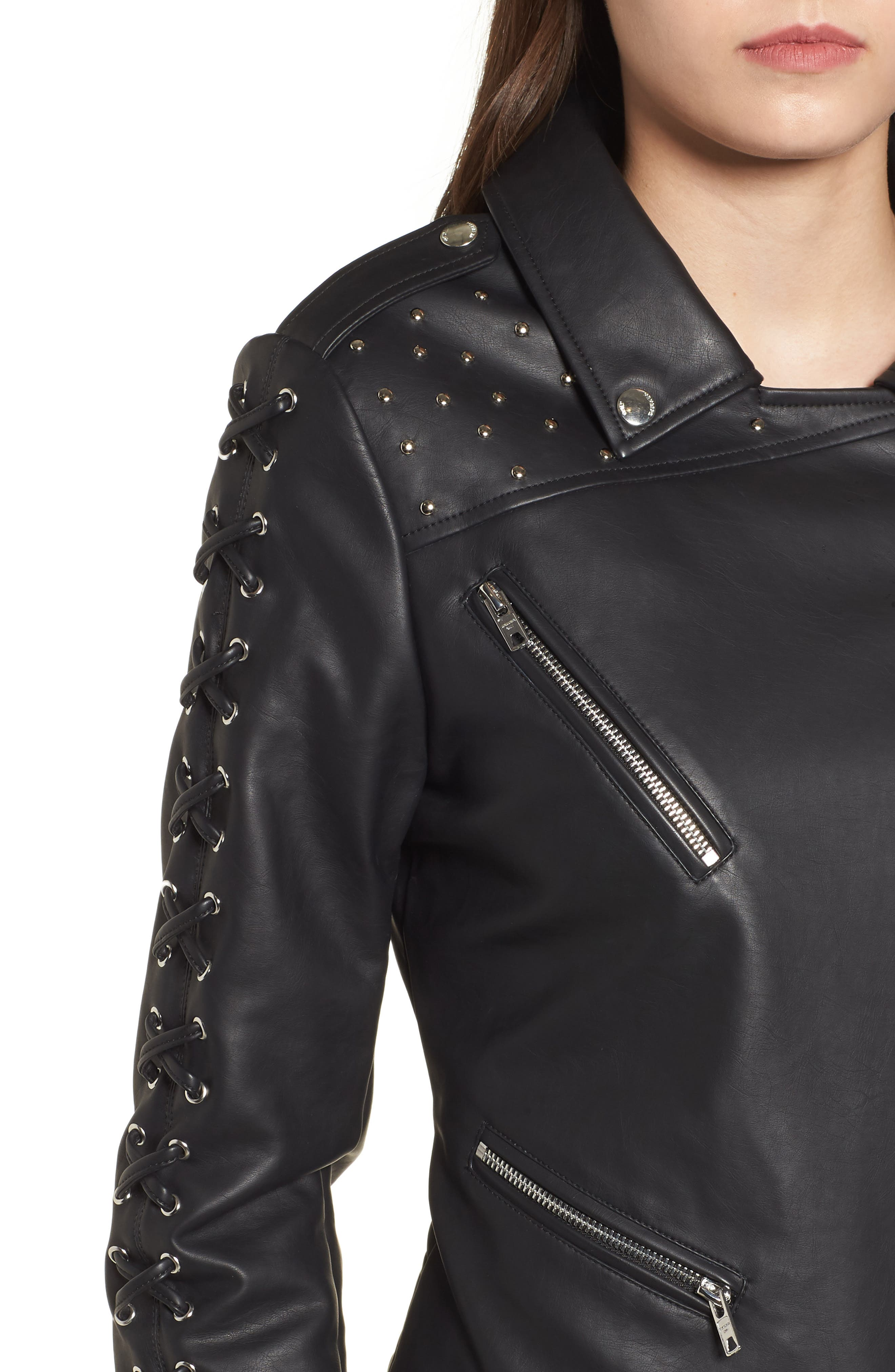 Faux Leather Biker Jacket,                             Alternate thumbnail 4, color,                             Black