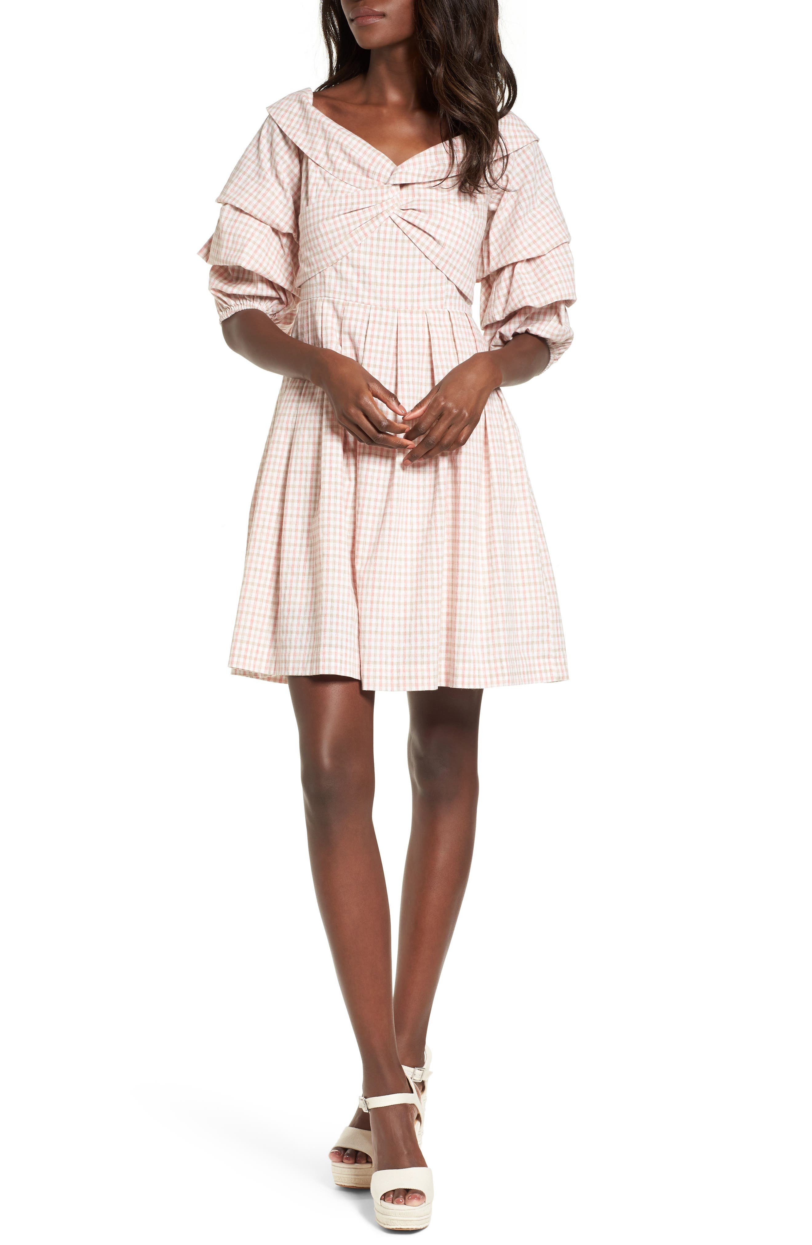 Chriselle x J.O.A. Tiered Sleeve Minidress,                         Main,                         color, Patina Gingham