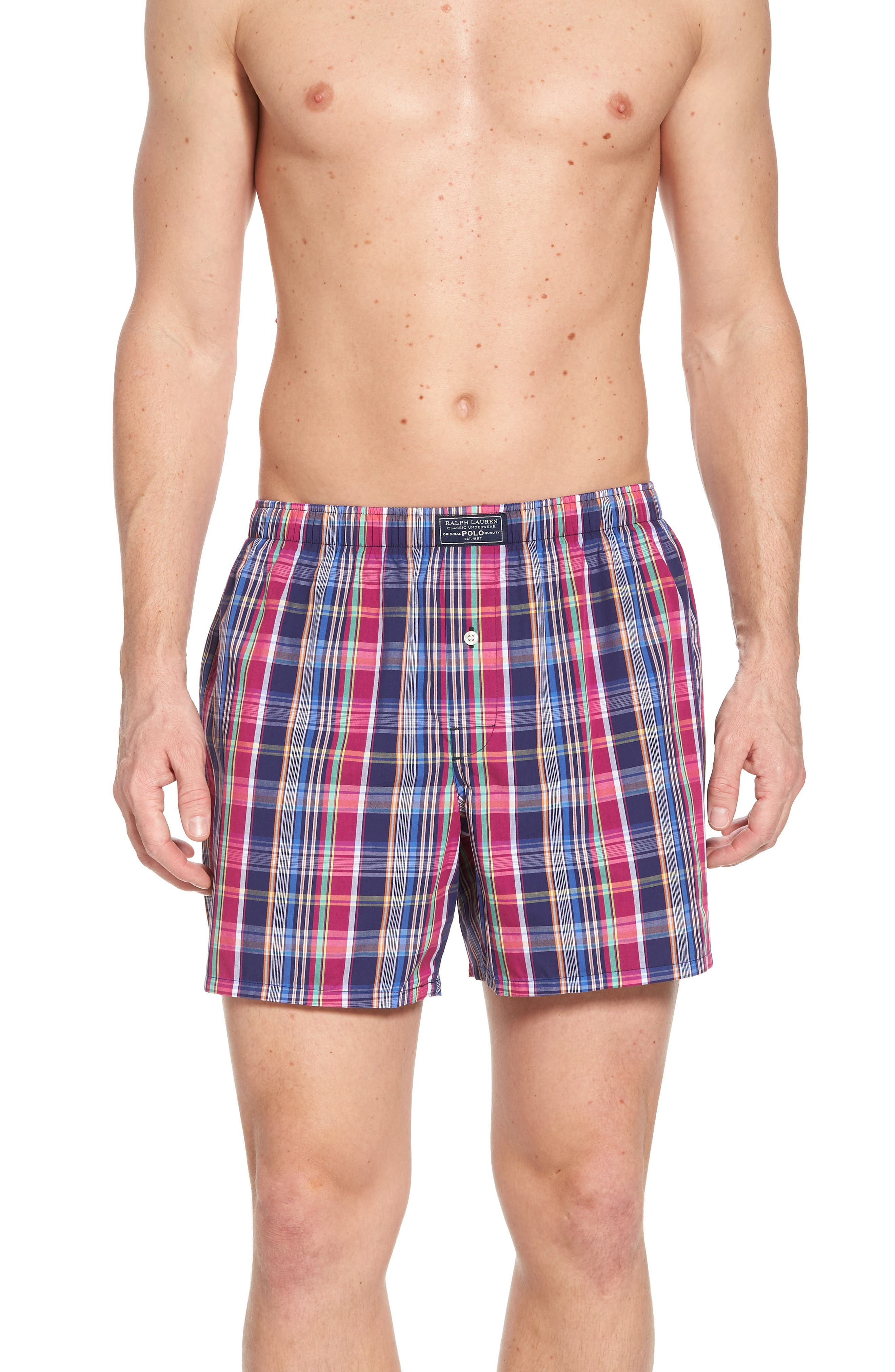 Woven Cotton Boxers,                         Main,                         color, Collin Plaid/ Bright Pink