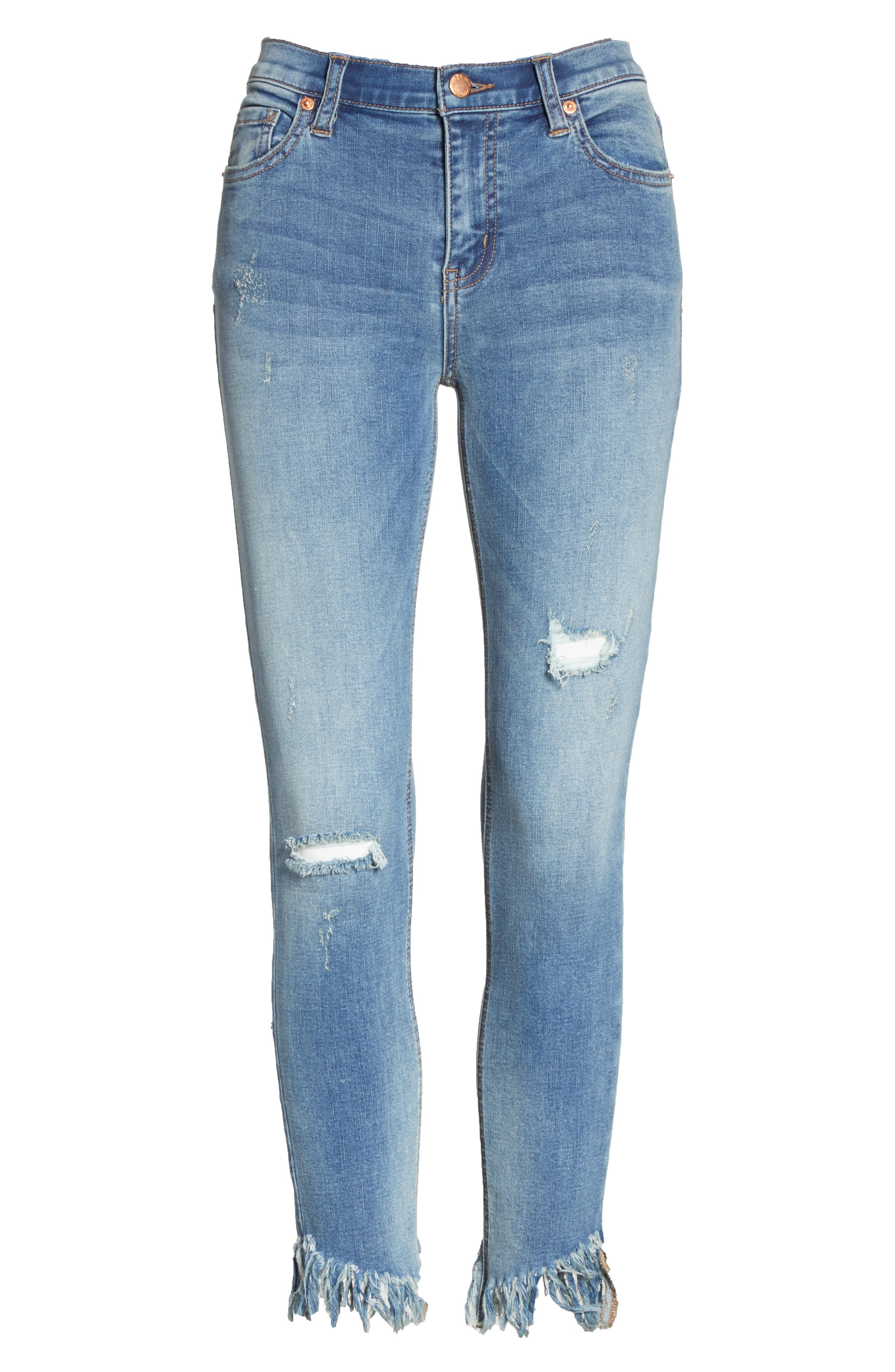 Great Heights Frayed Skinny Jeans,                             Alternate thumbnail 6, color,                             Sky