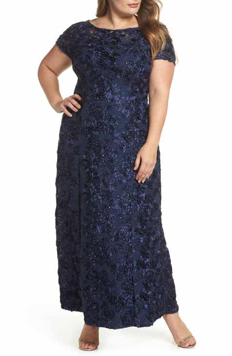 Alex Evenings Rosette Lace Short Sleeve A-Line Gown (Plus Size) 79553fdd0