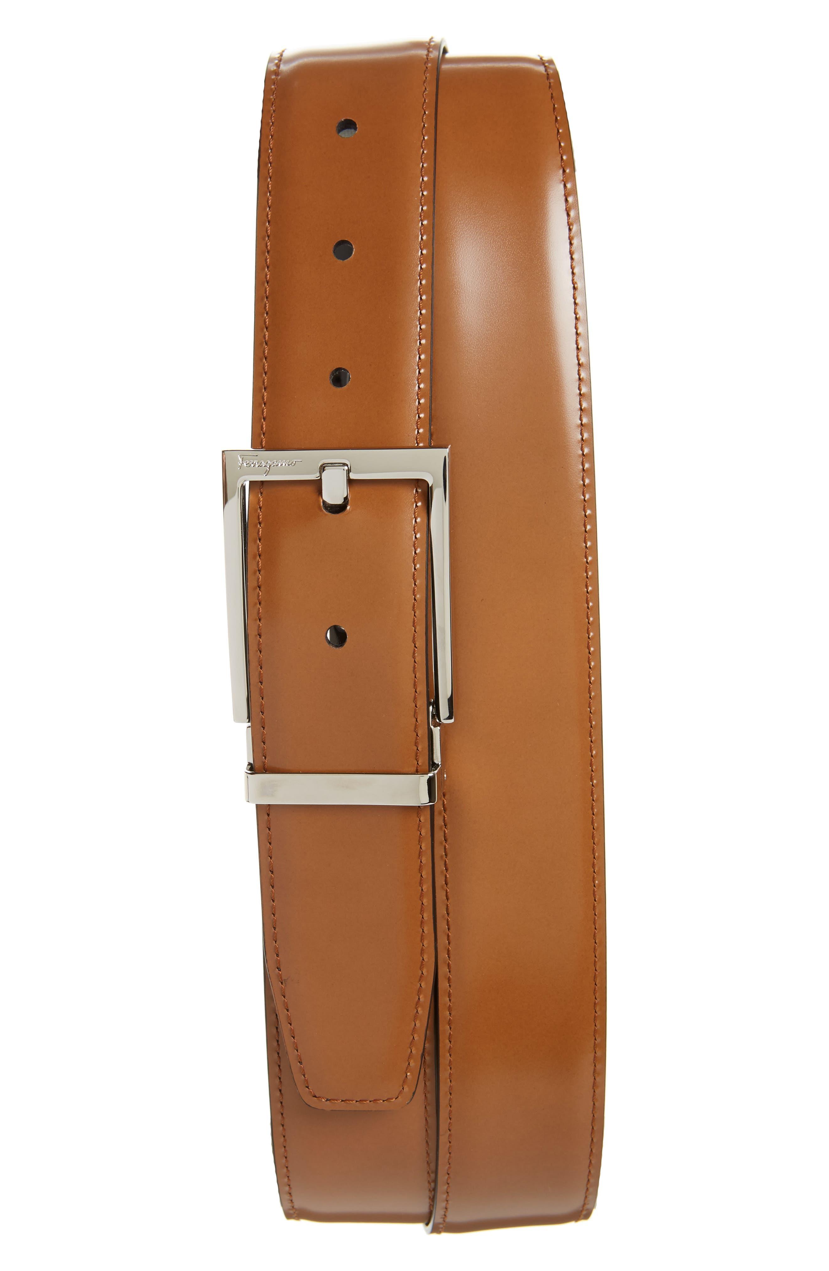 Reversible Leather Belt,                             Alternate thumbnail 2, color,                             Black/ Cuoio