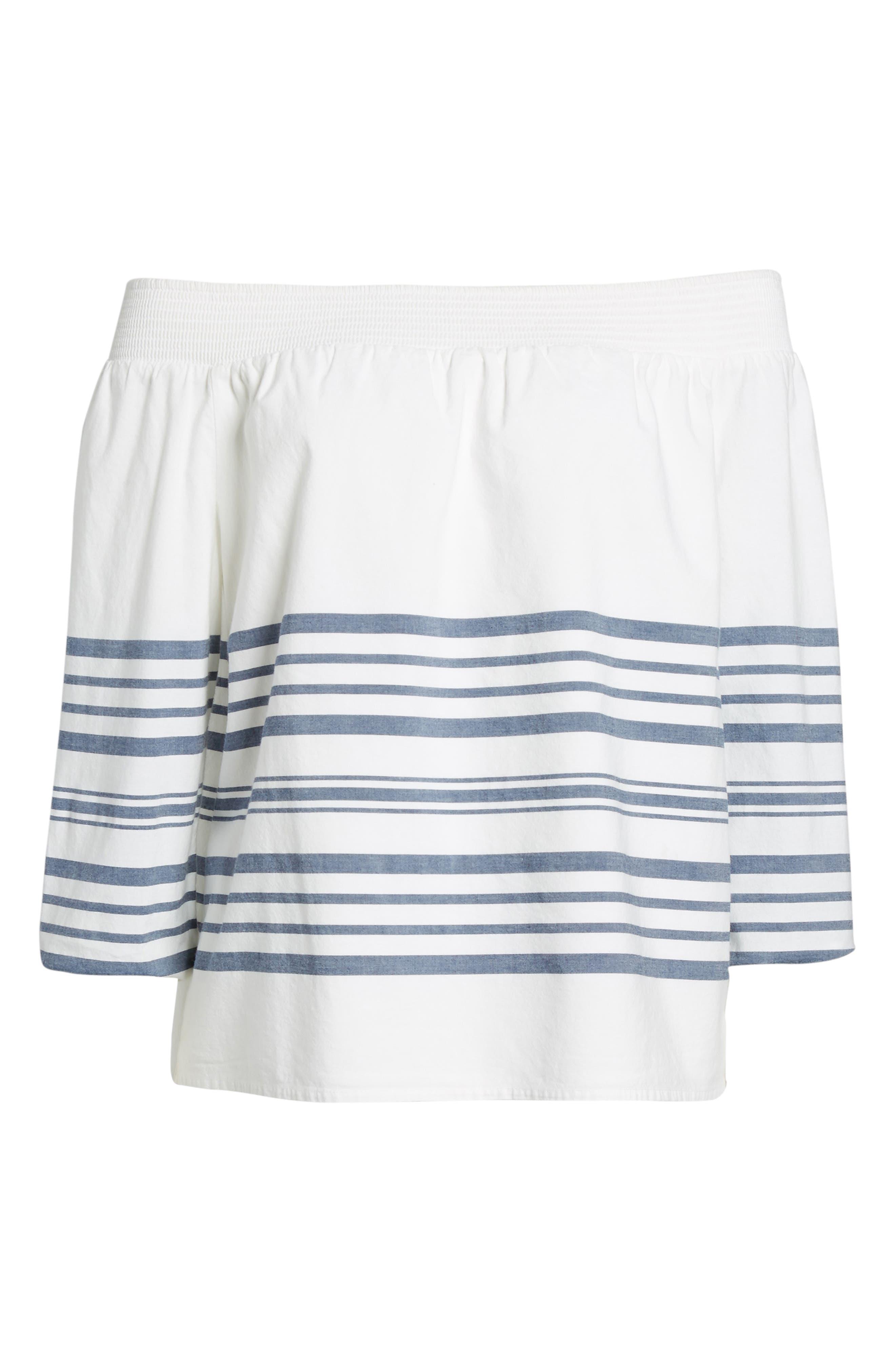 Breaker Stripe Off the Shoulder Cotton Top,                             Alternate thumbnail 6, color,                             White Cap