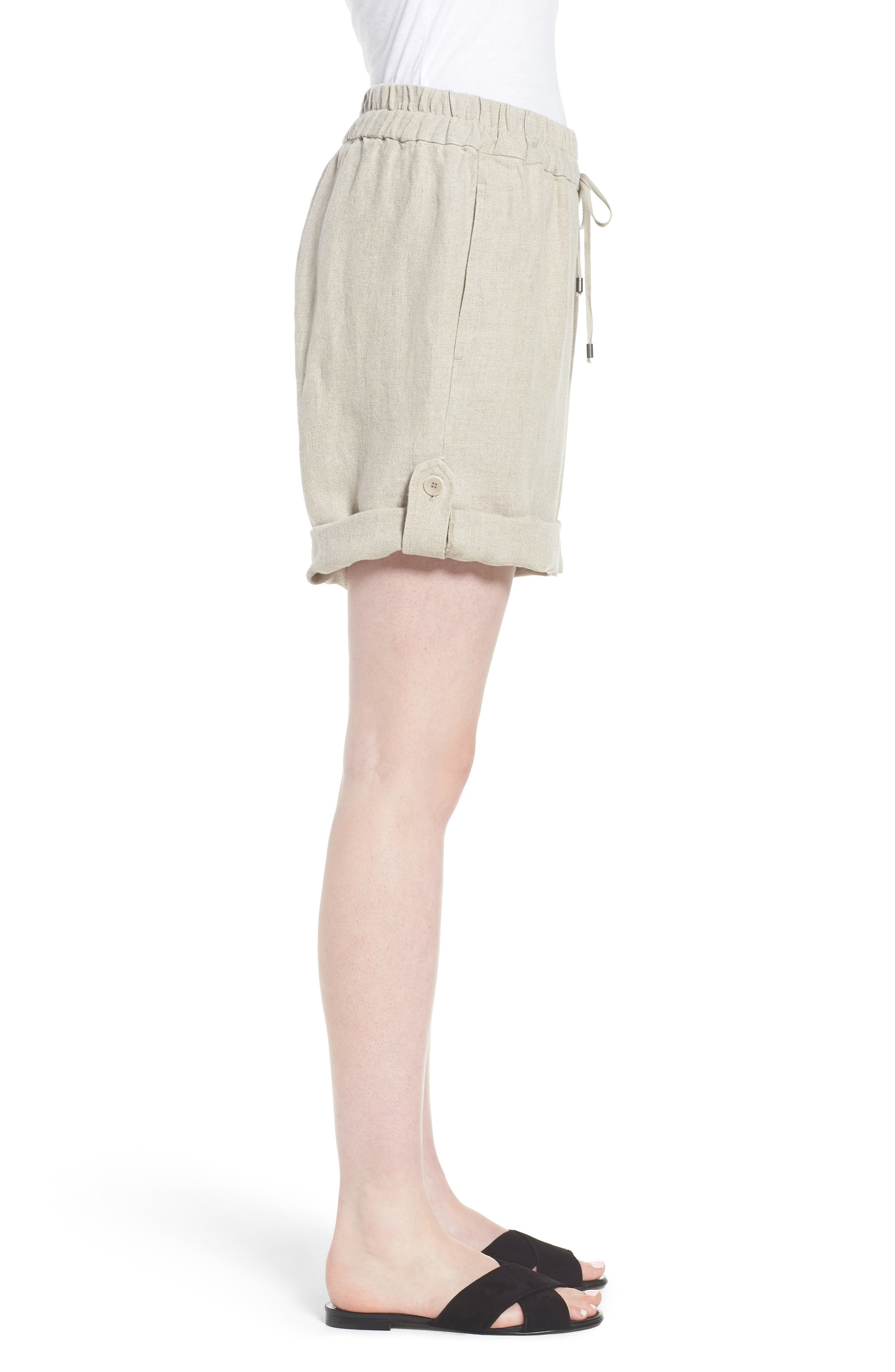 Rolled Organic Linen Shorts,                             Alternate thumbnail 3, color,                             Undyed Natural