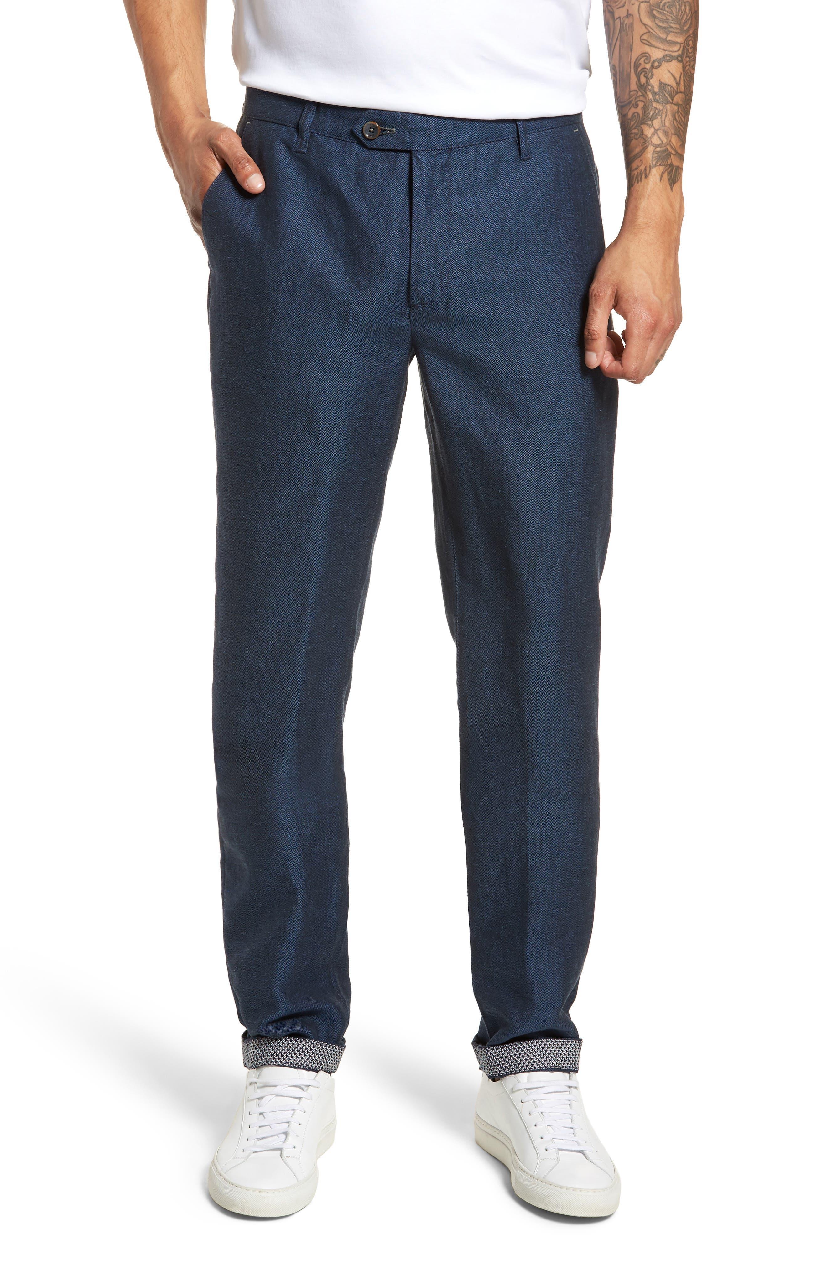 Cazzman Flat Front Stretch Pants,                         Main,                         color, Navy