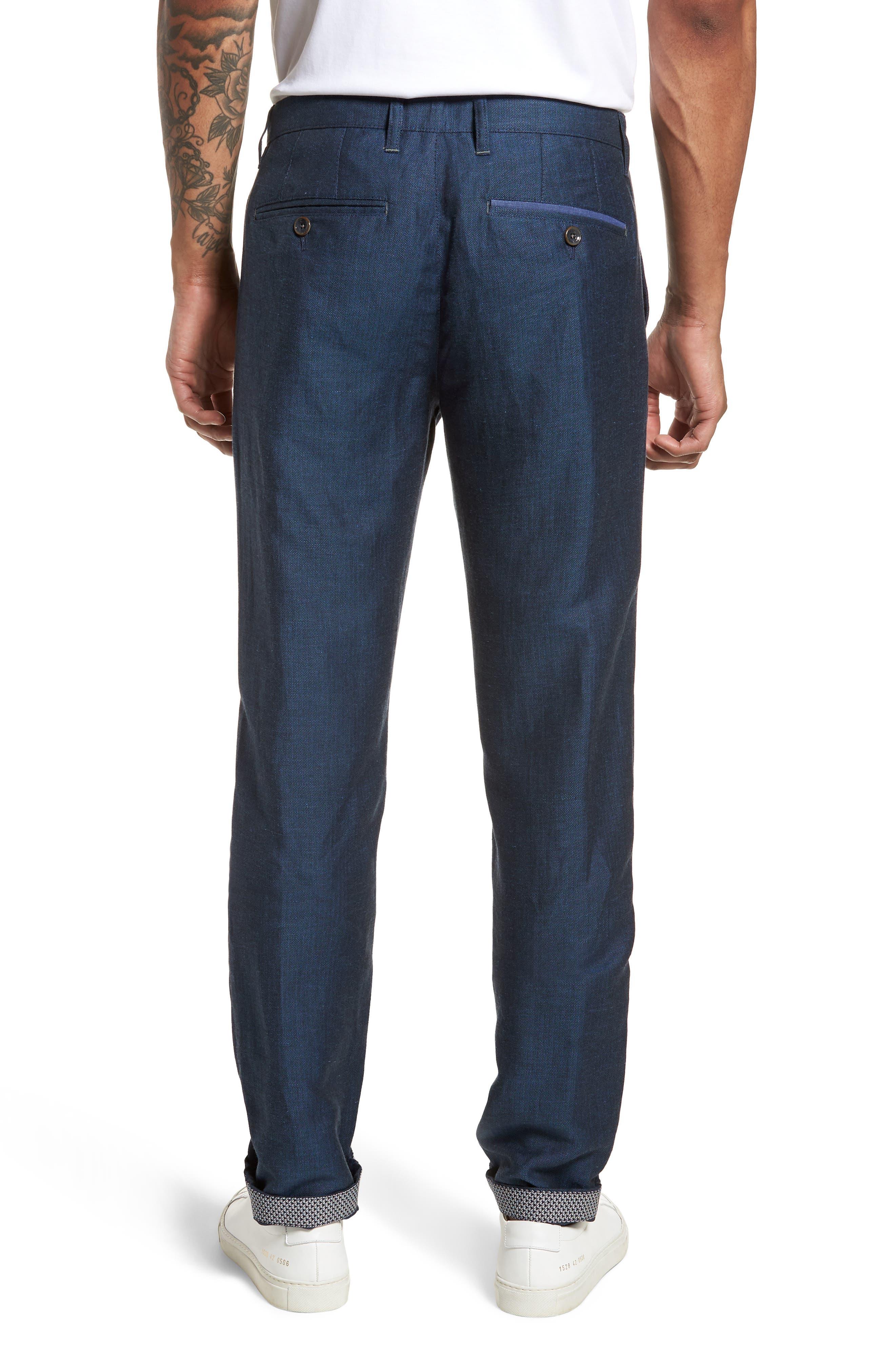Cazzman Flat Front Stretch Pants,                             Alternate thumbnail 2, color,                             Navy