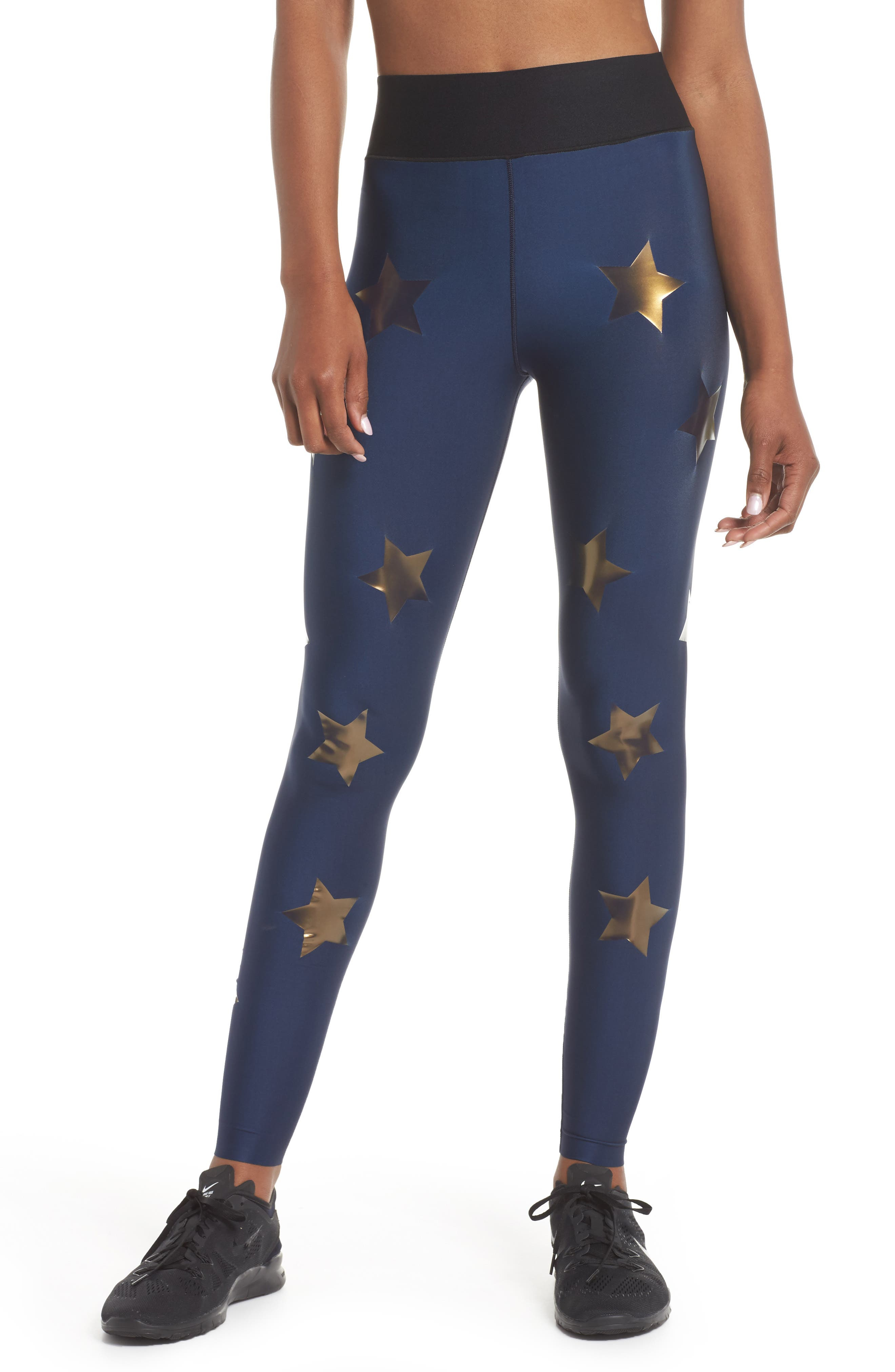 Lux Knockout Leggings,                             Main thumbnail 1, color,                             Obig - Oxford Blue Gold