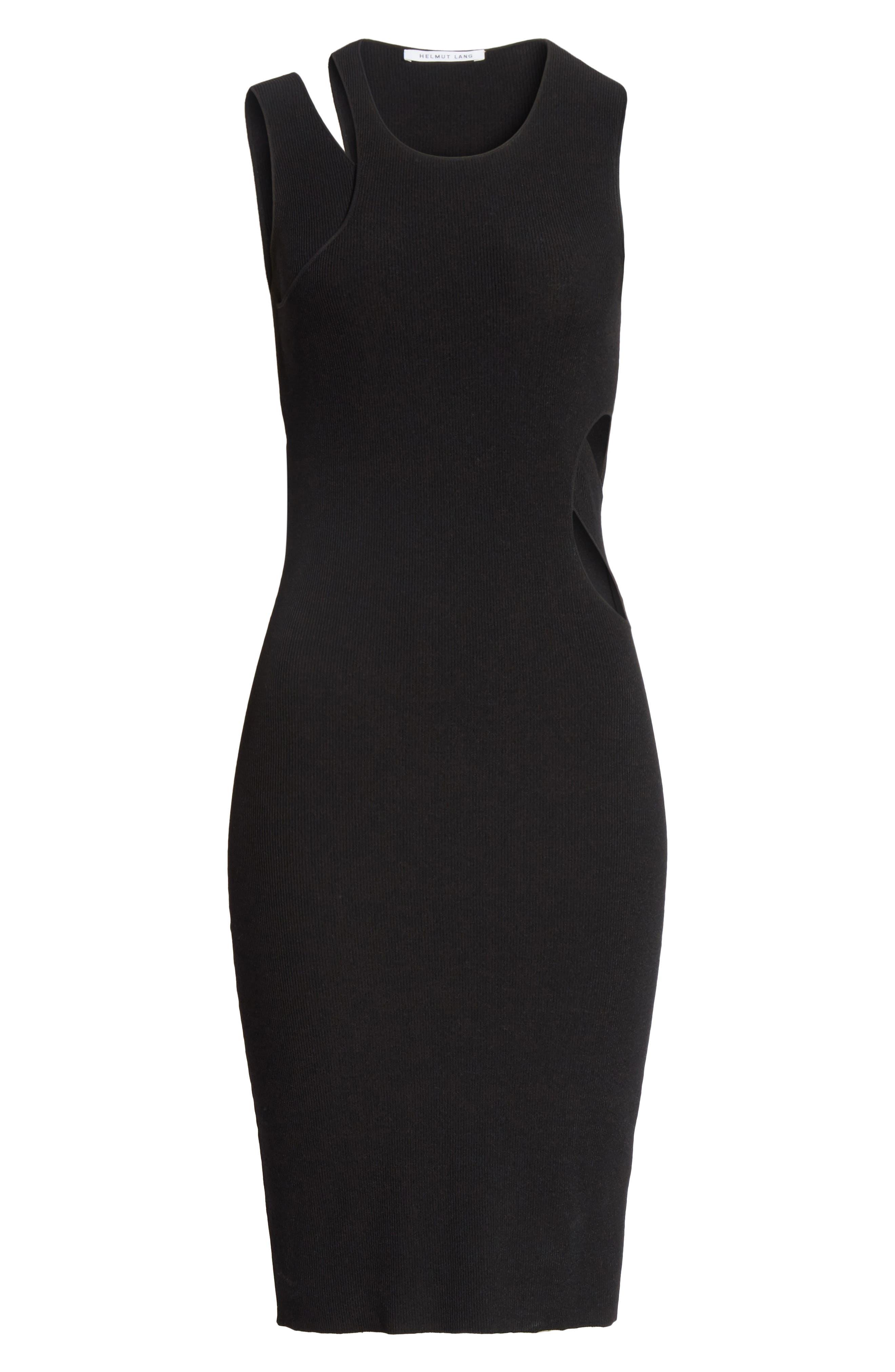 Slash Layered Tank Dress,                             Alternate thumbnail 6, color,                             Black