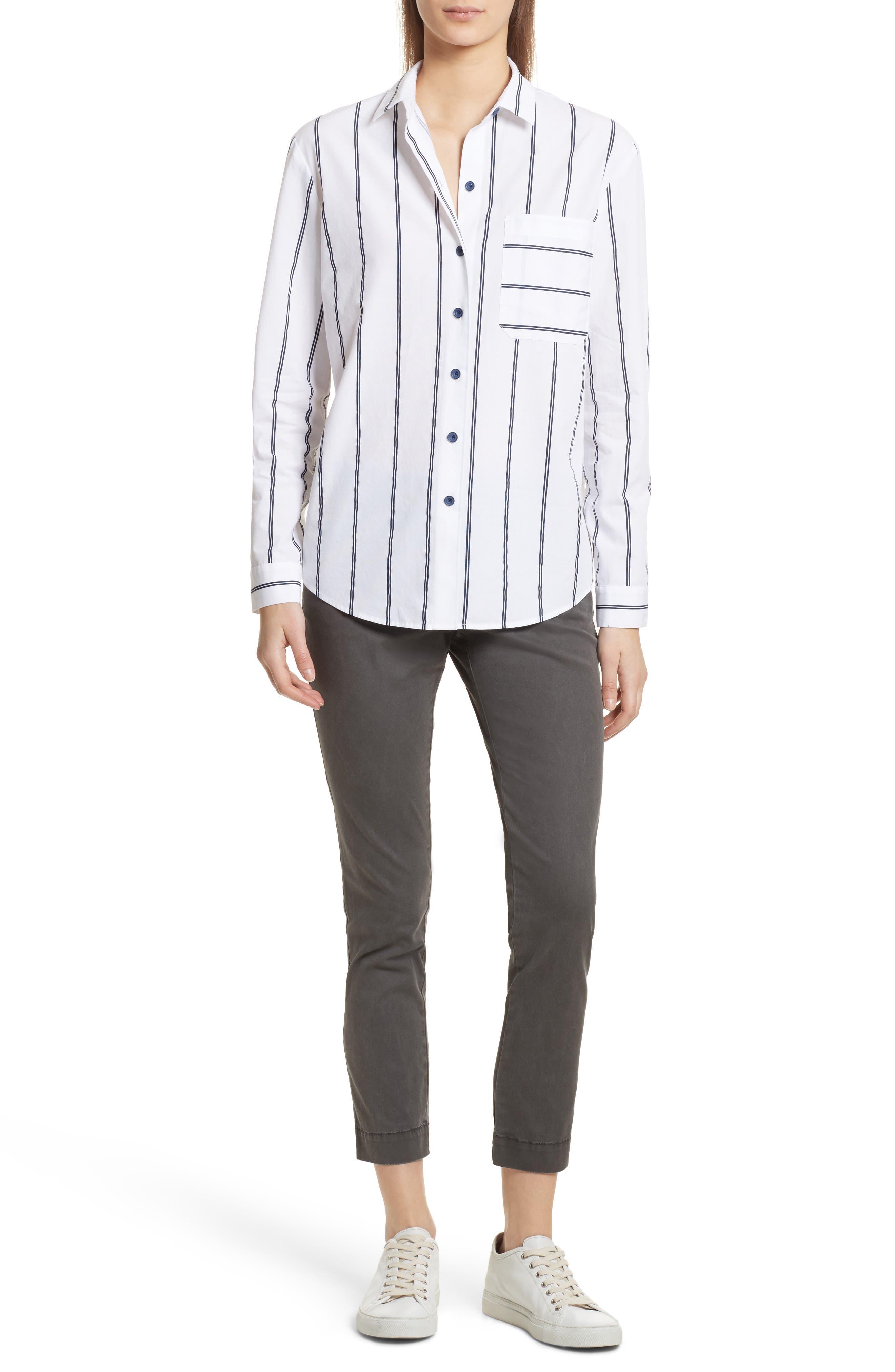 Railroad Stripe Boyfriend Shirt,                             Alternate thumbnail 7, color,                             White/ Midnight Stripe