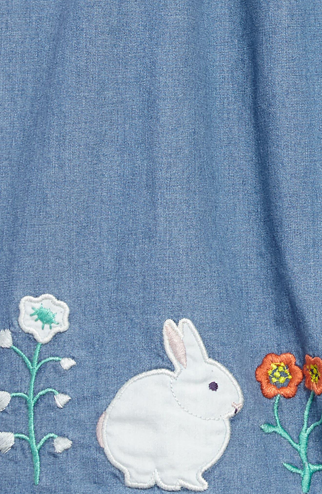 Woven Appliqué Dress,                             Alternate thumbnail 3, color,                             Chambray Flowers