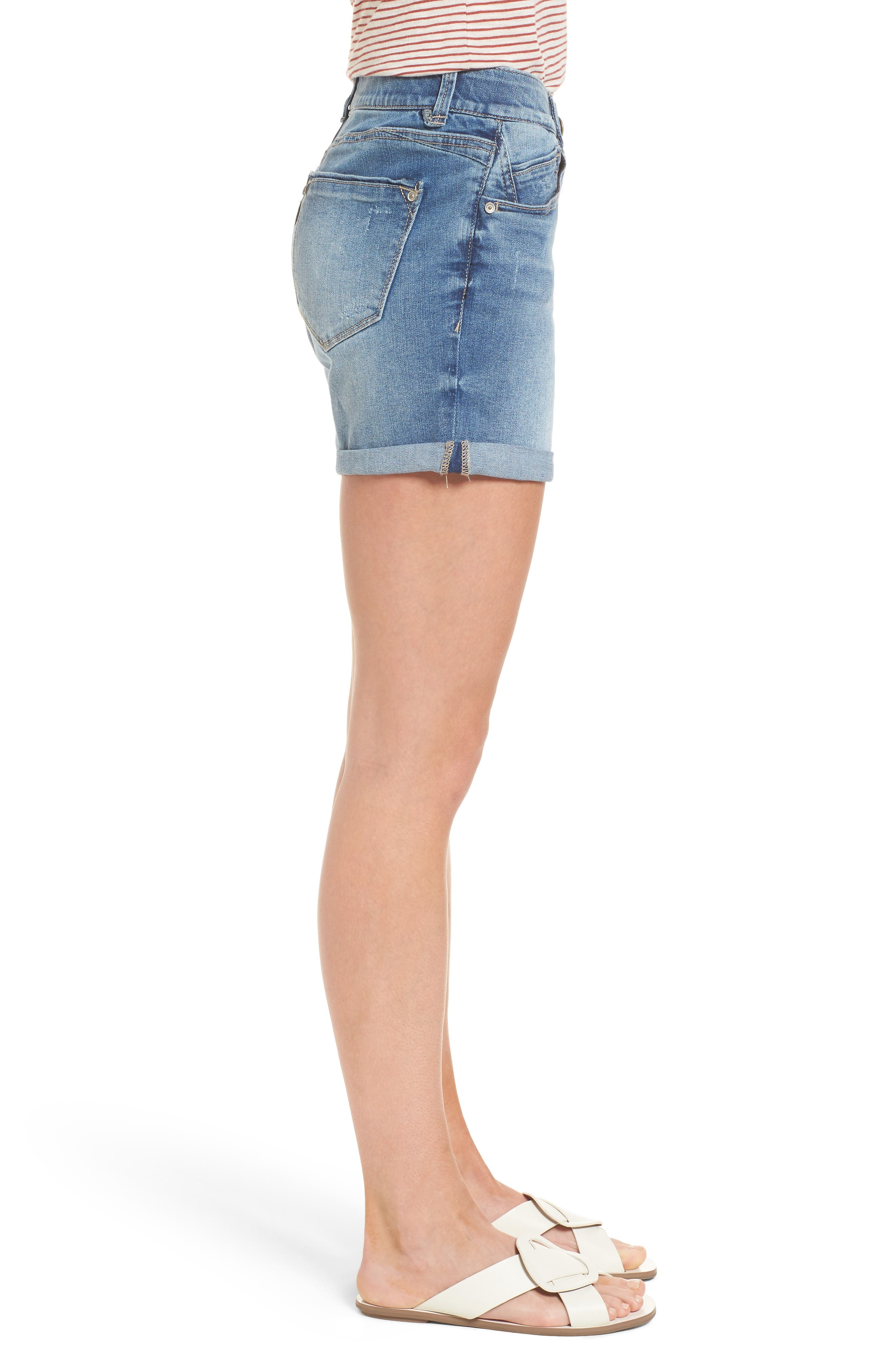 Ab-solution Denim Shorts,                             Alternate thumbnail 3, color,                             Light Blue